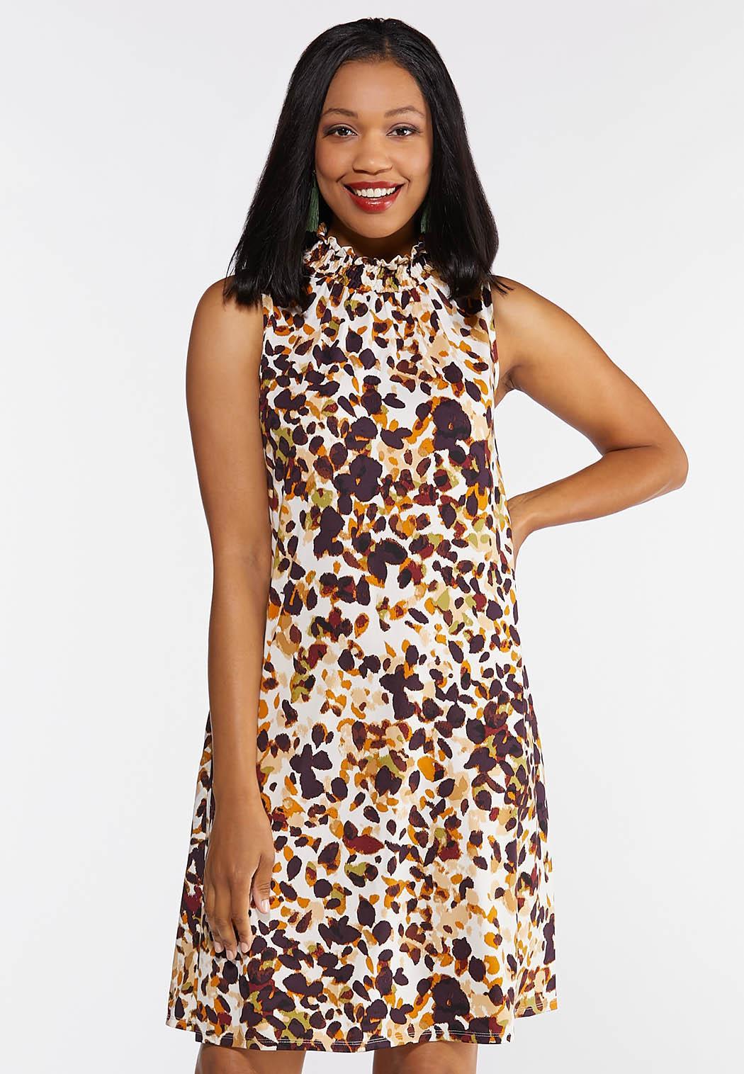 Plus Size Safari Dot Mock Neck Dress (Item #44344498)