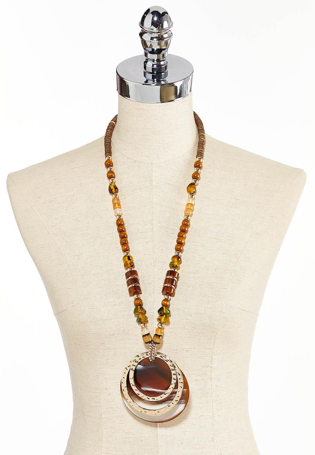 Oversized Mixed Bead Pendant Necklace (Item #44344712)