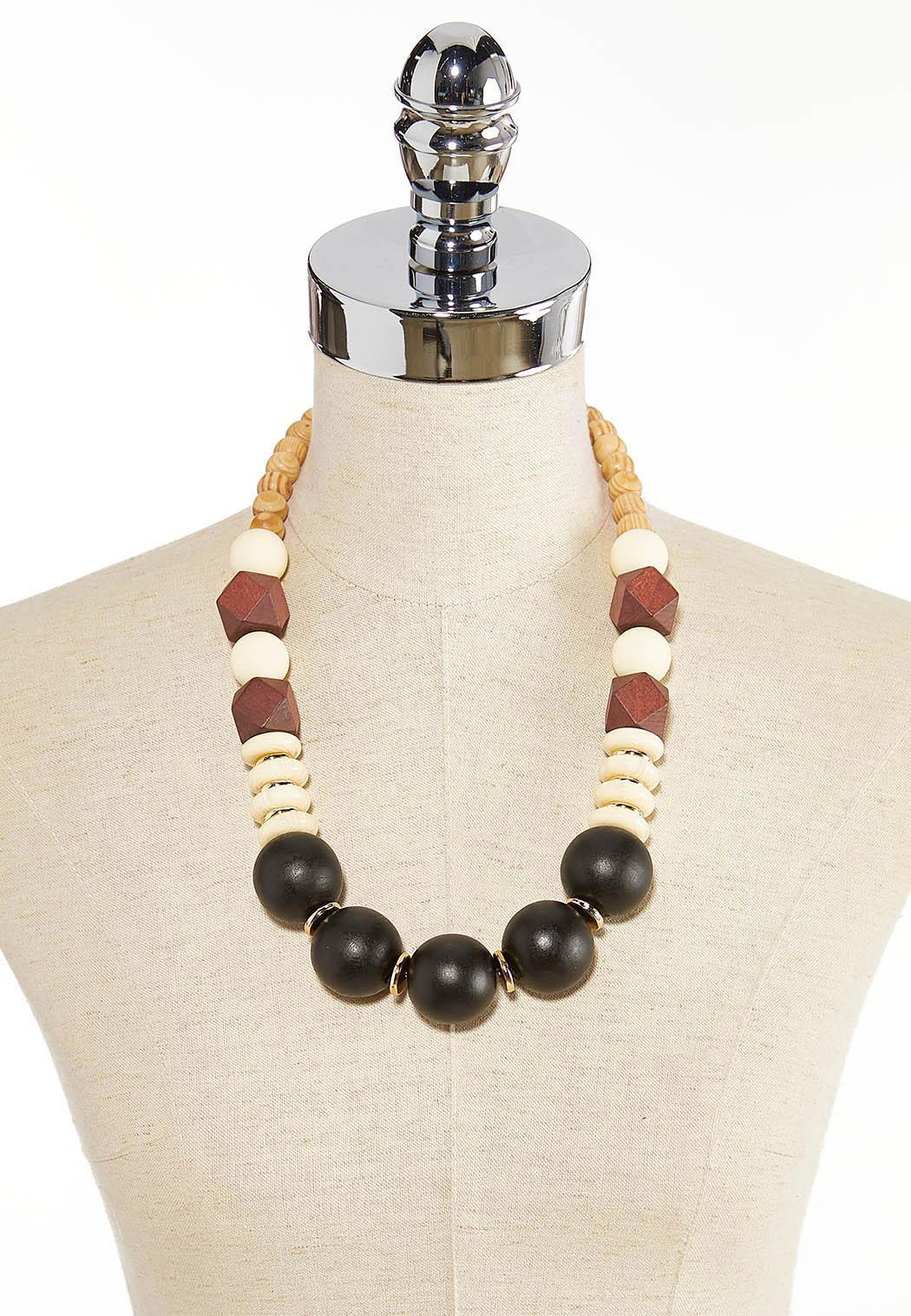 Mixed Wood Acrylic Bead Necklace (Item #44344718)