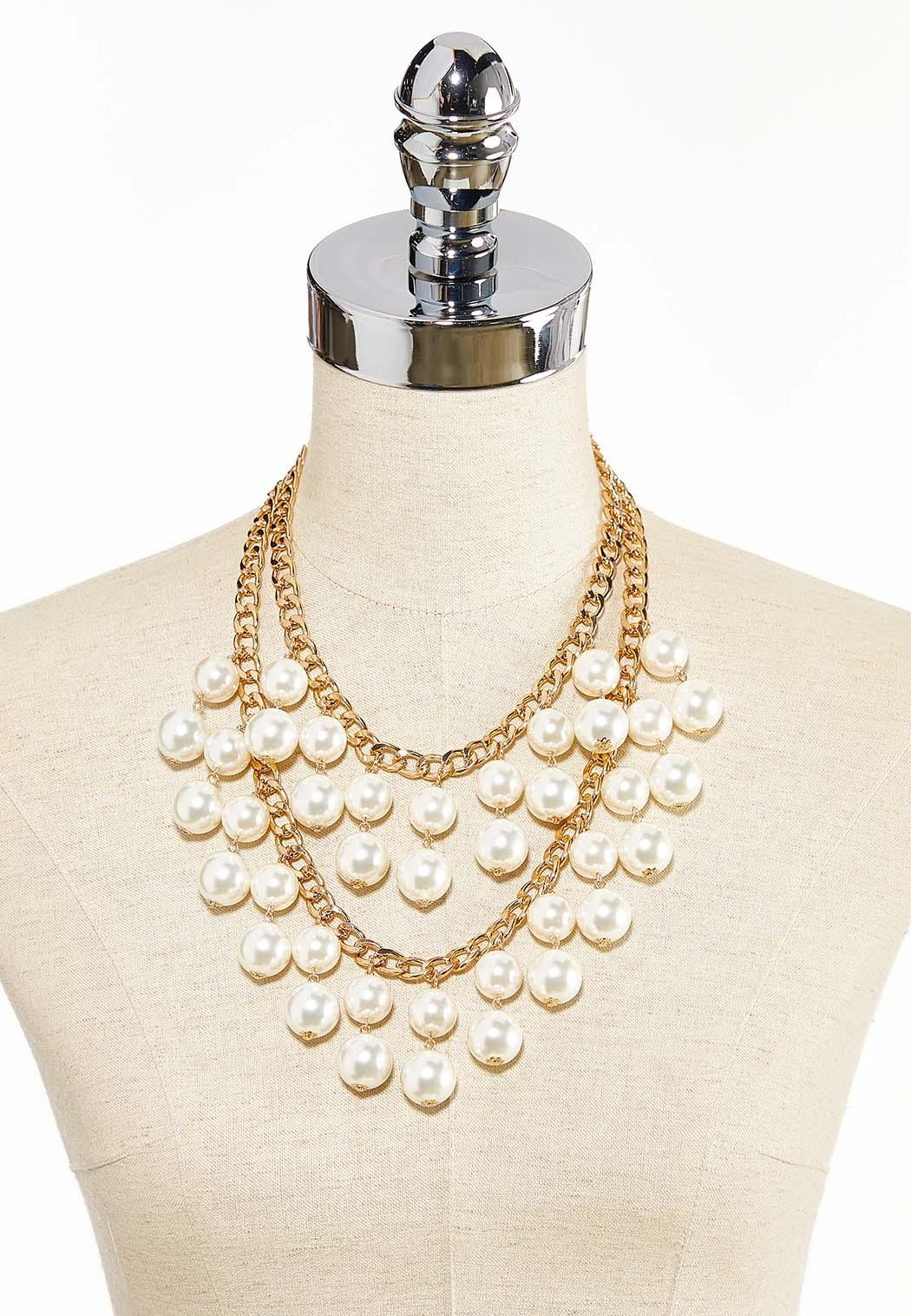 Layered Pearl Chain Necklace (Item #44344727)