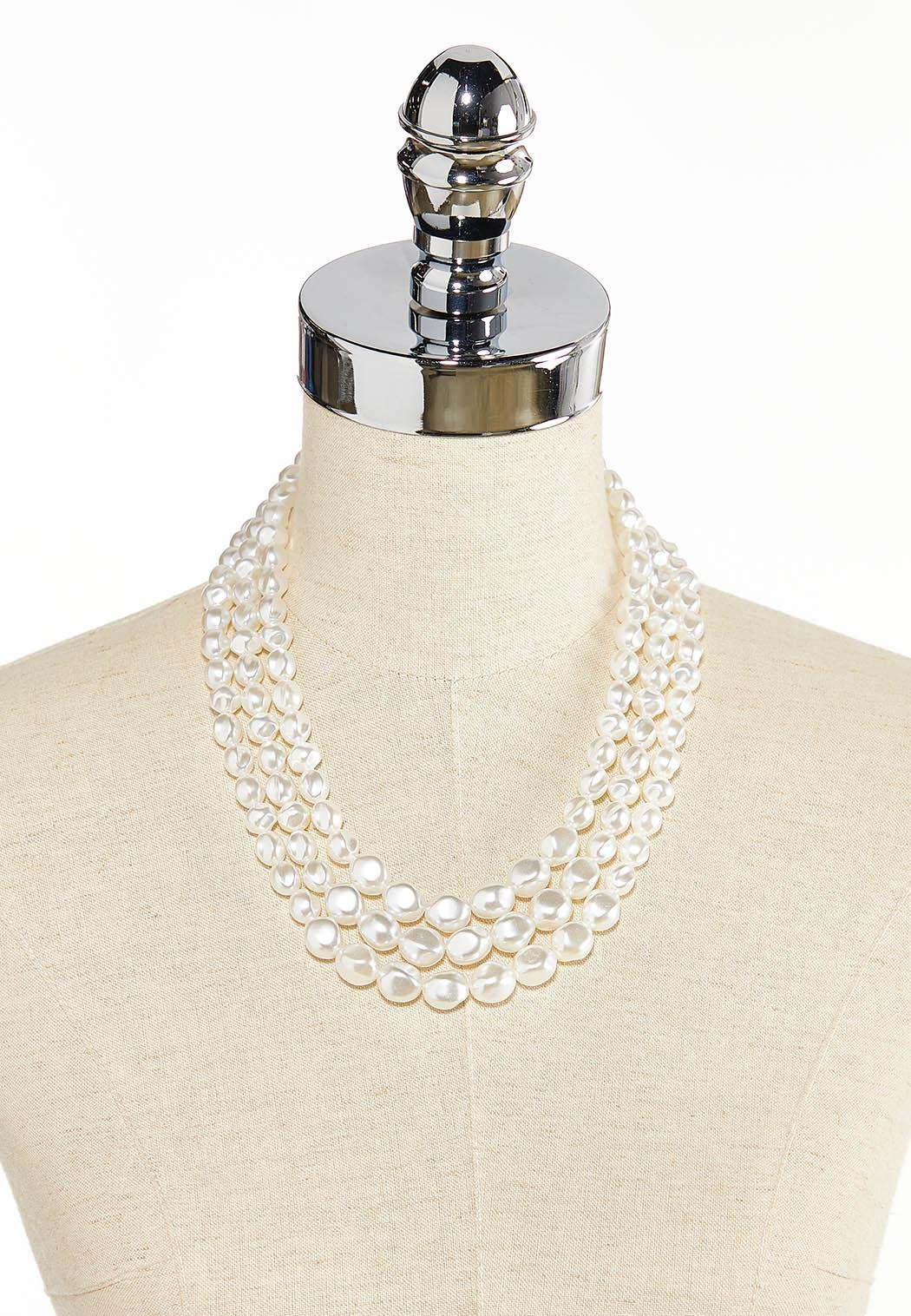 Layered Acrylic Pearl Necklace (Item #44344740)