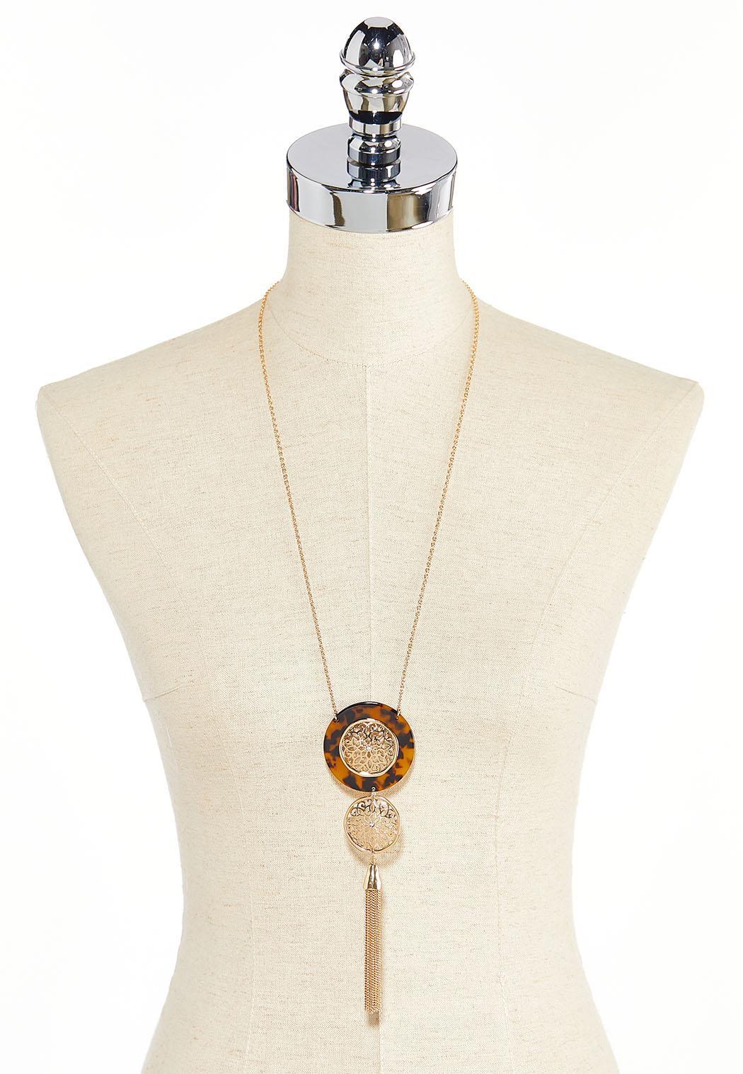 Tortoise Medallion Tassel Necklace (Item #44345115)