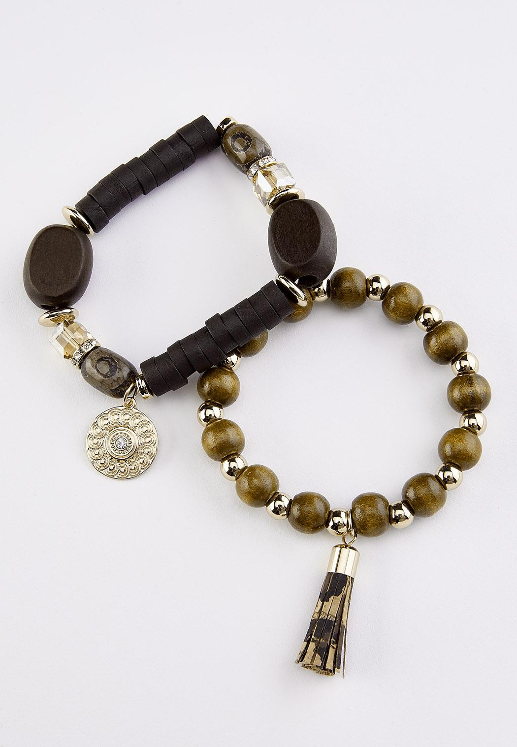 Tassel Wood Stretch Bracelet Set (Item #44345176)
