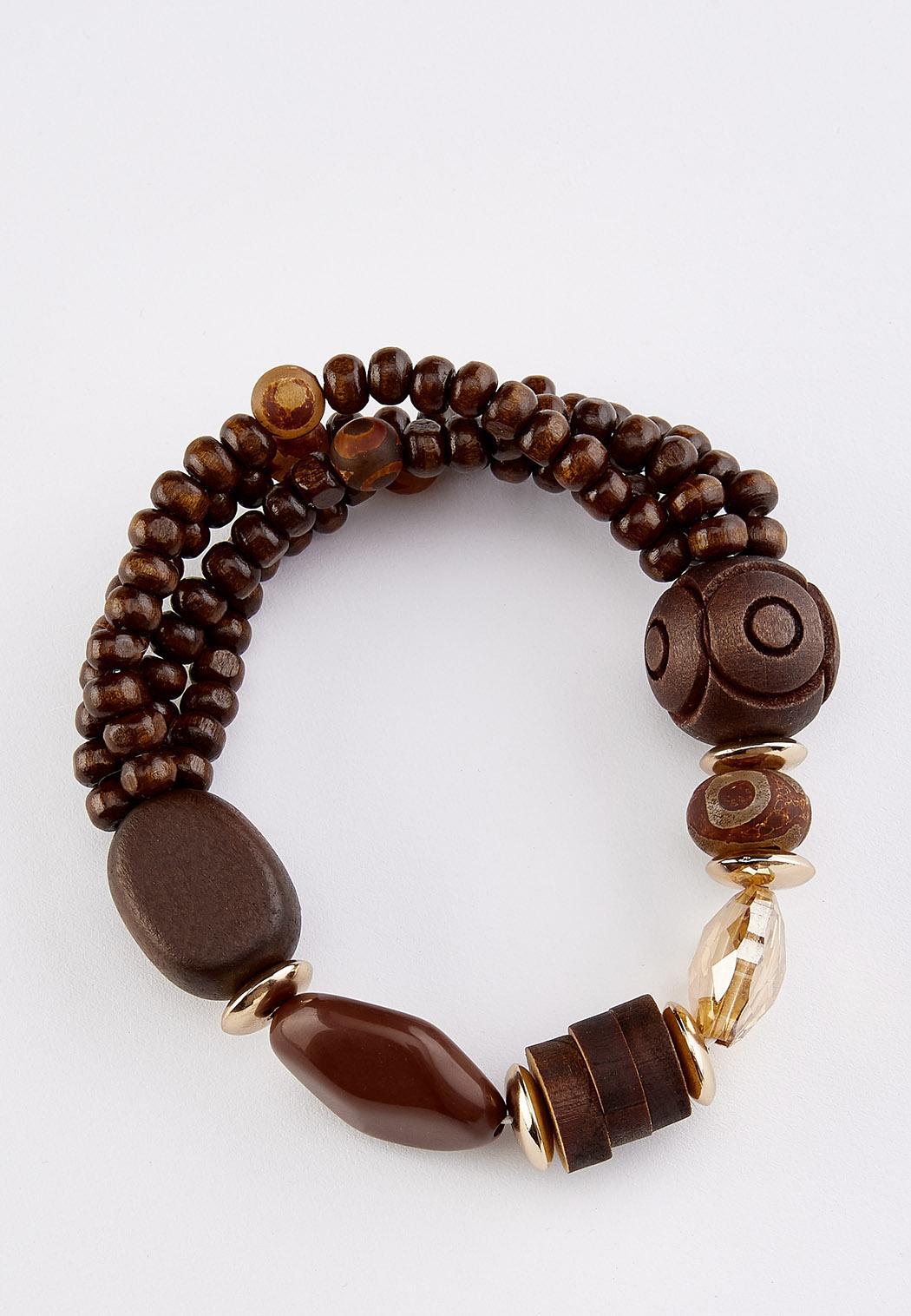 Wood Glass Bead Stretch Bracelet (Item #44345198)