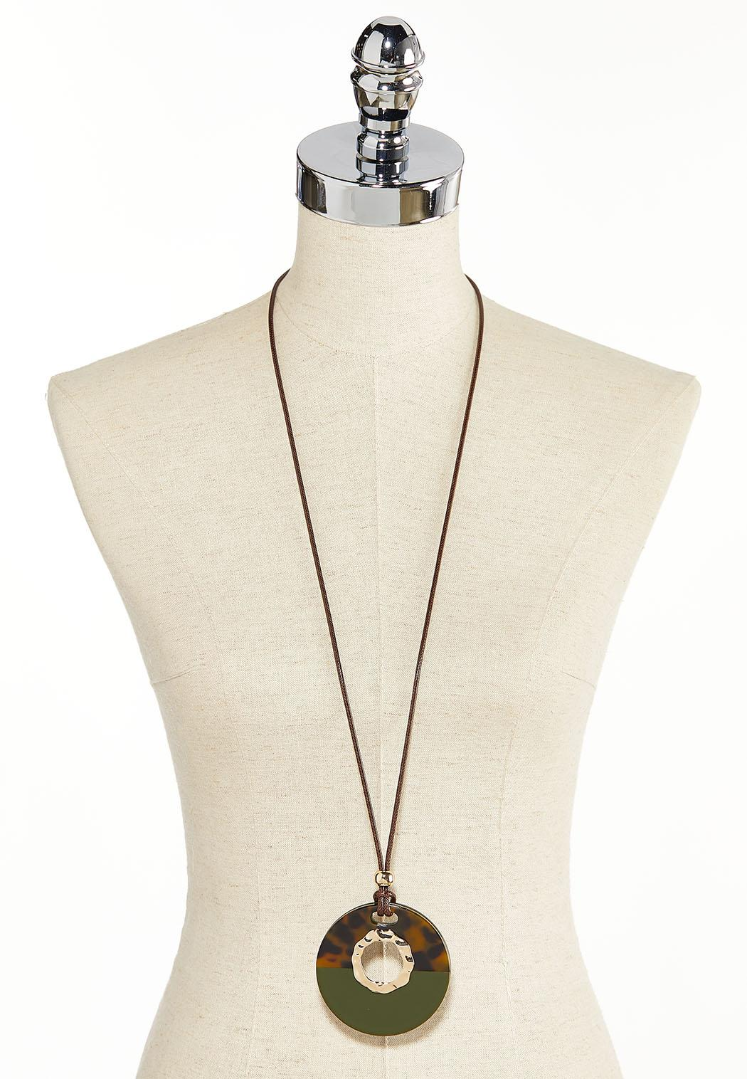 Resin Medallion Cord Necklace (Item #44345318)