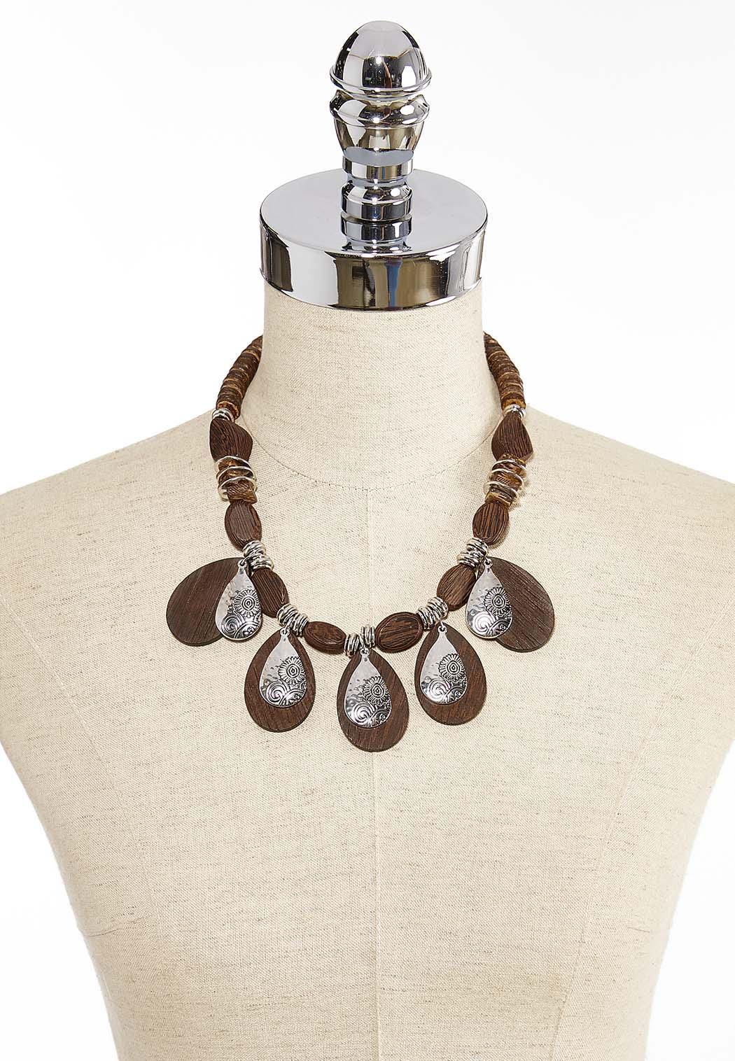 Hammered Metal Wood Necklace (Item #44345802)