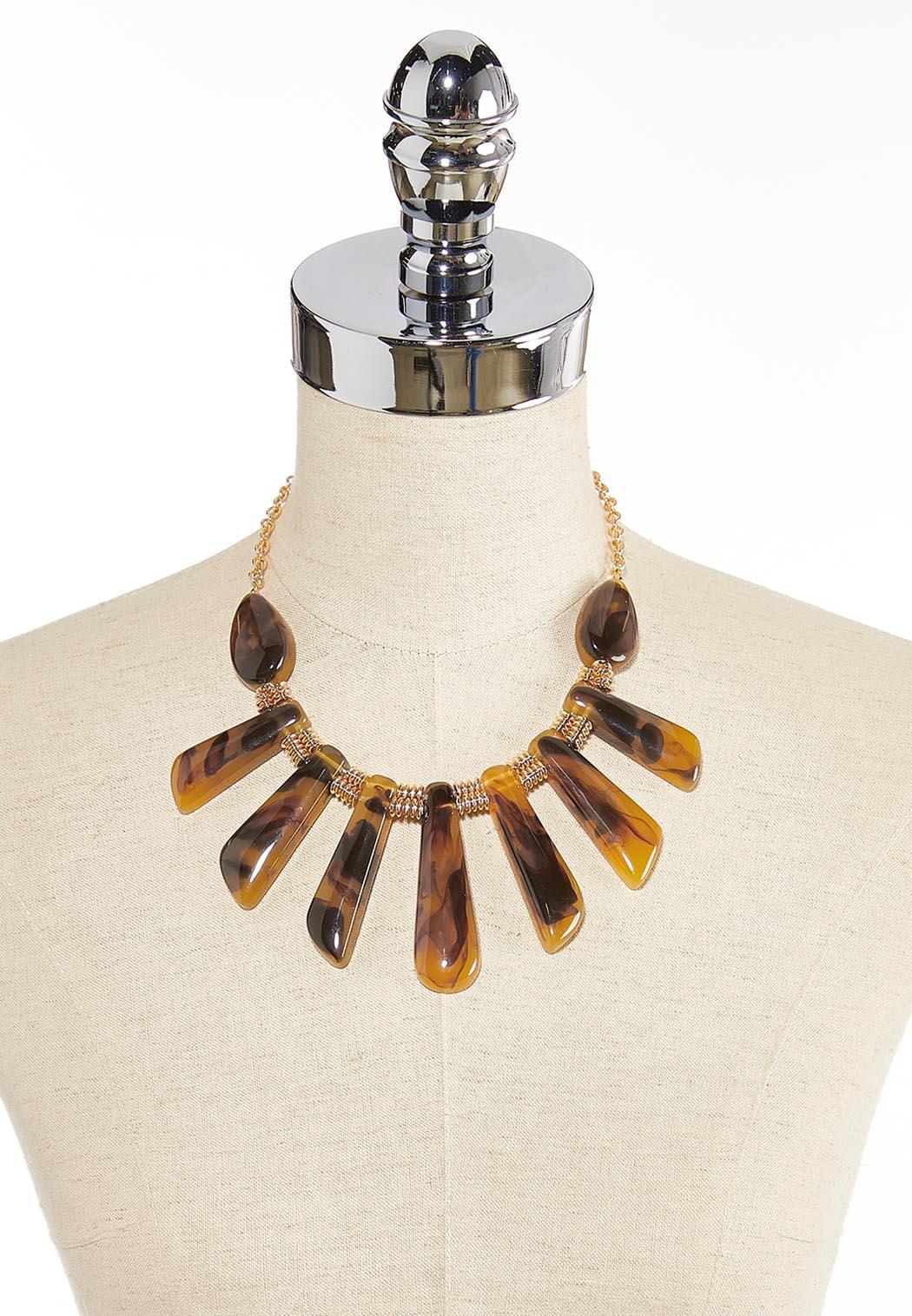 Resin Tortoise Shell Bib Necklace (Item #44345997)