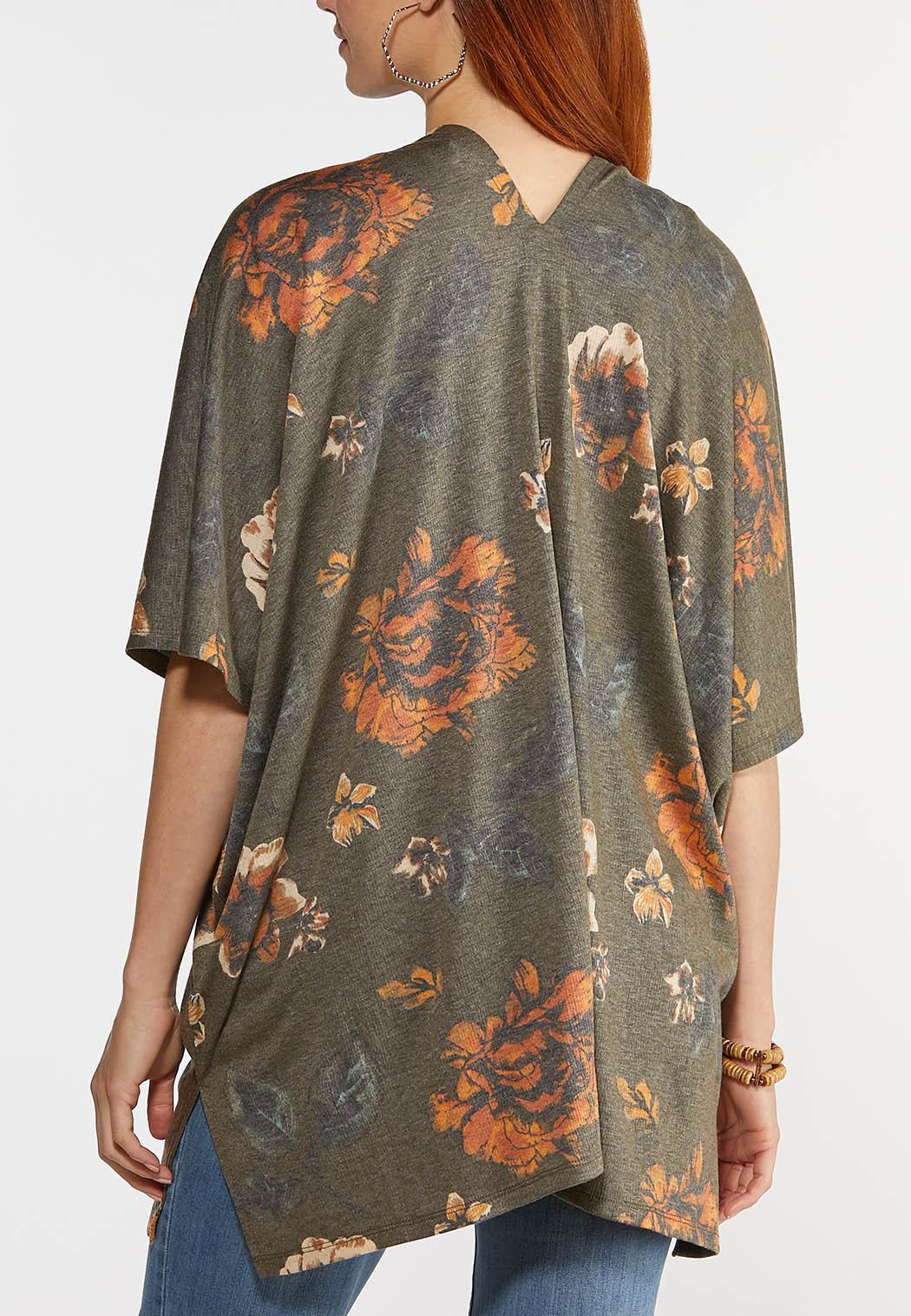 Plus Size Olive Floral Kimono  (Item #44346772)
