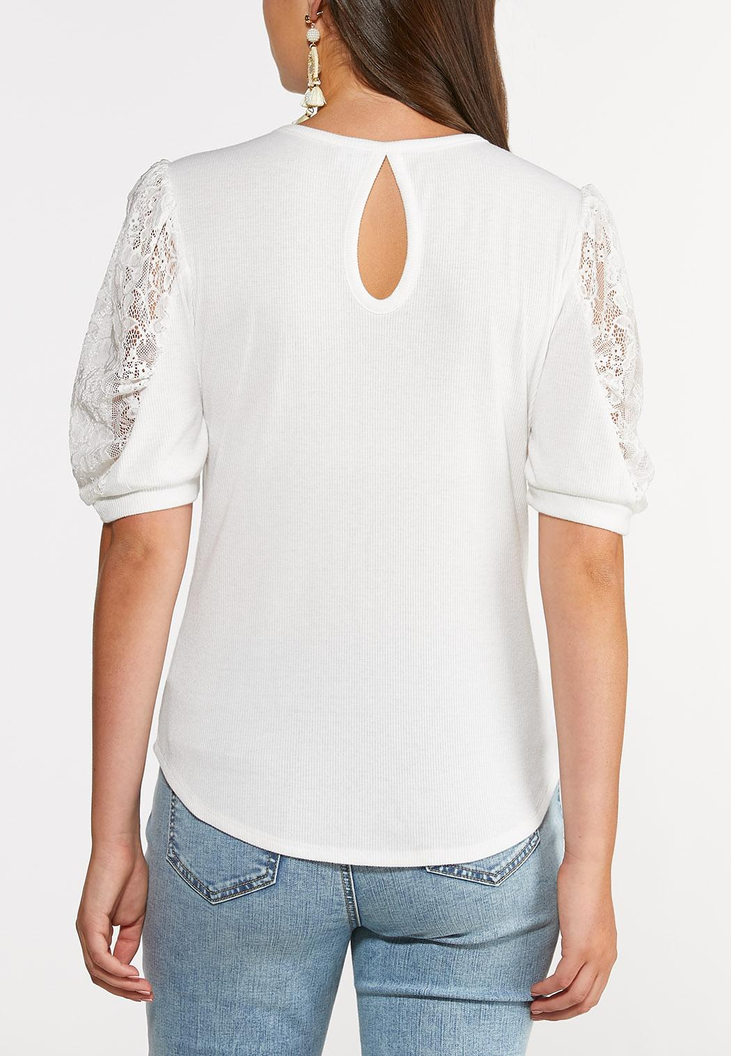 Plus Size Lace Puff Sleeve Top (Item #44347197)