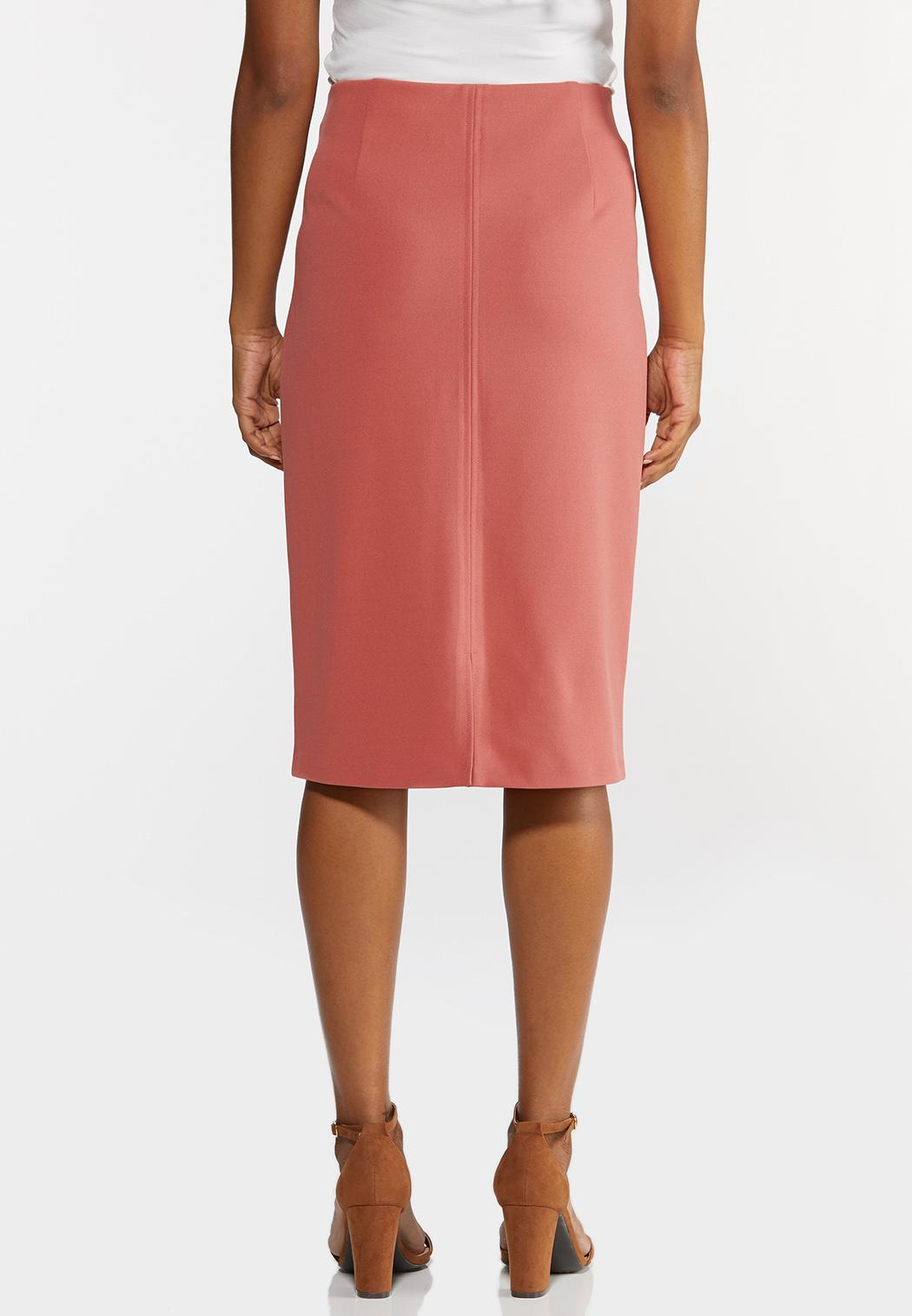 Plus Size Button Tab Pencil Skirt (Item #44347886)