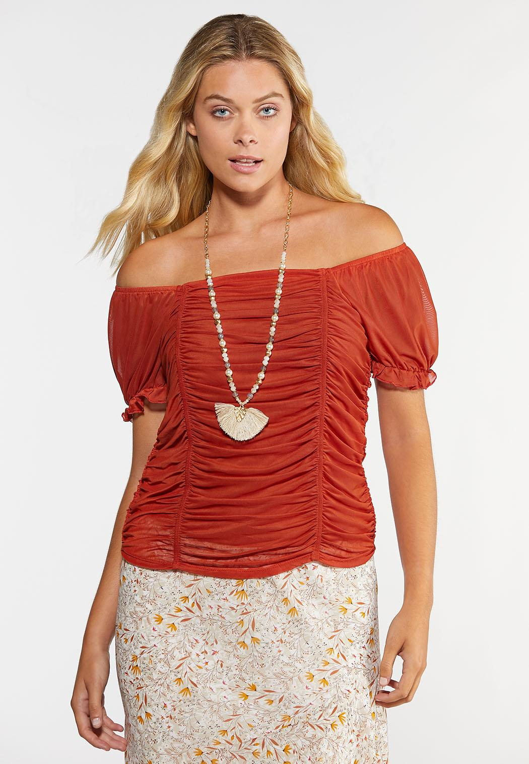 Mesh Puff Sleeve Top (Item #44348244)