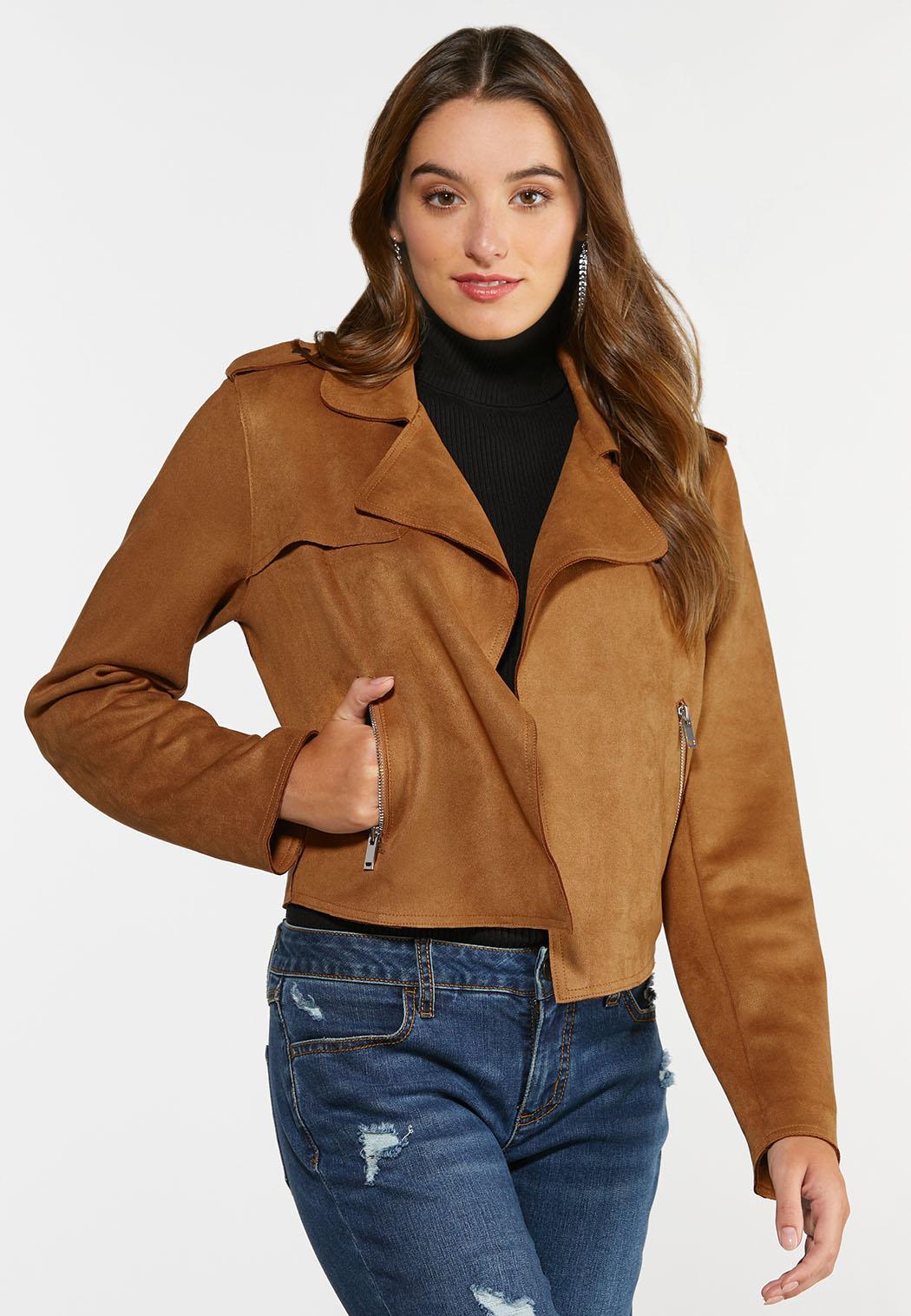 Plus Size Faux Suede Moto Jacket (Item #44348378)