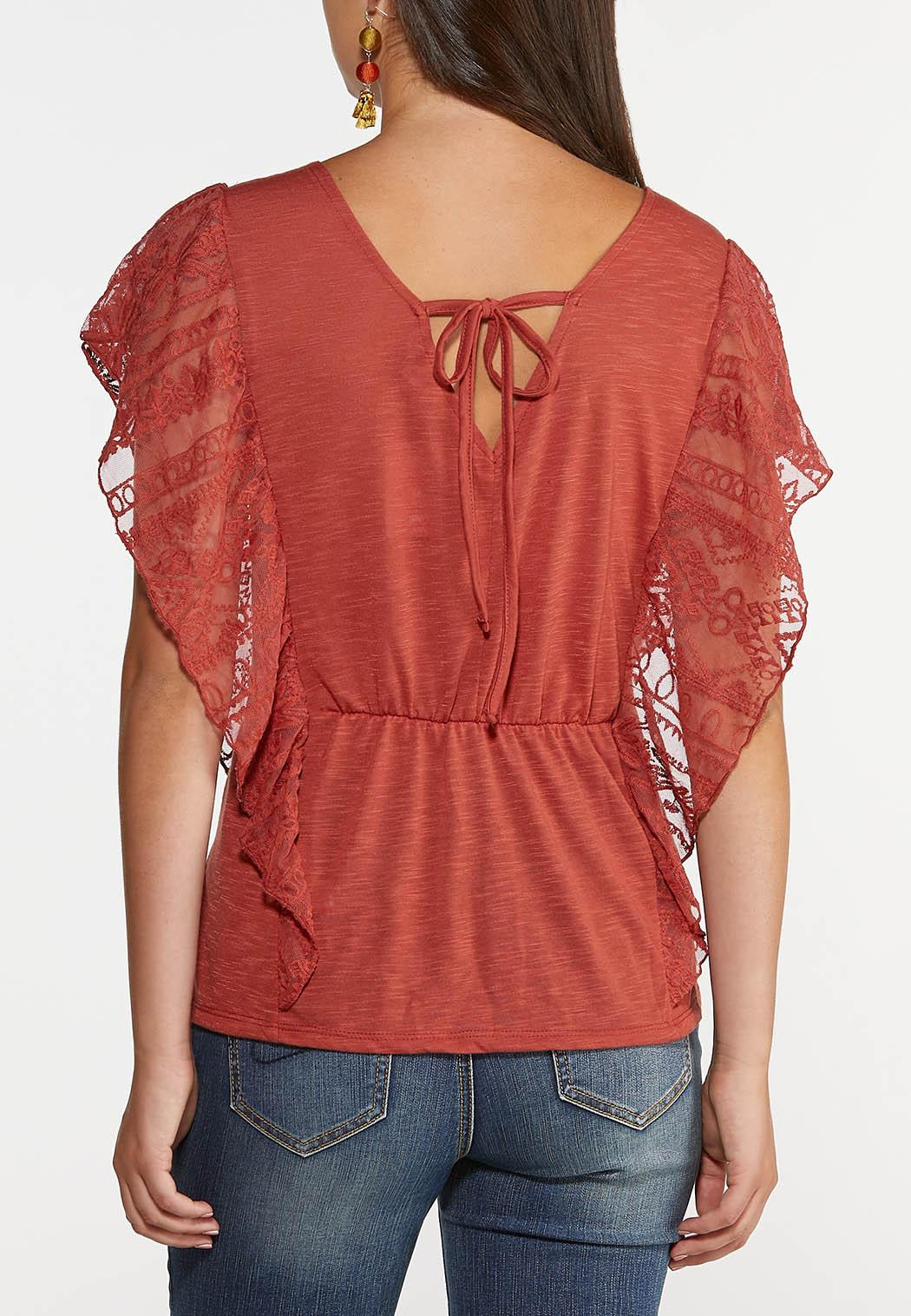 Plus Size Rust Lace Ruffle Top (Item #44348542)