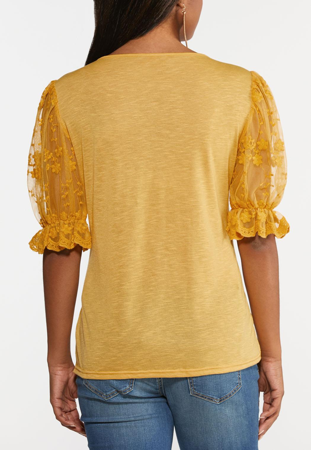 Embroidered Mesh Sleeve Top (Item #44349198)