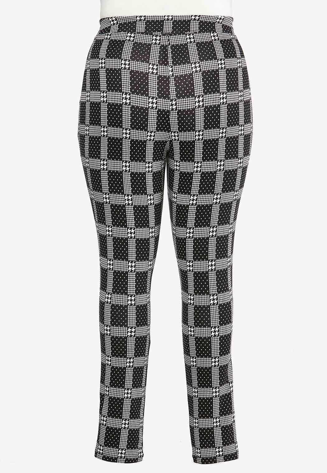 Plus Size Plaid Houndstooth Leggings (Item #44349397)