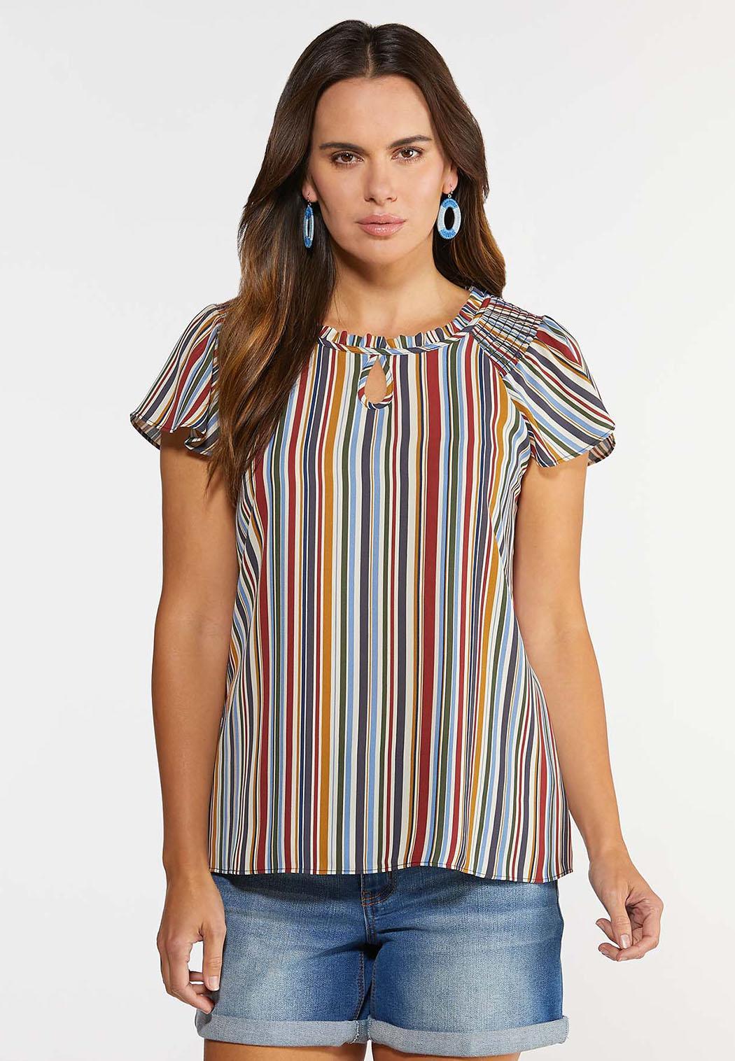 Plus Size Stripe Ruffle Poet Top (Item #44349932)