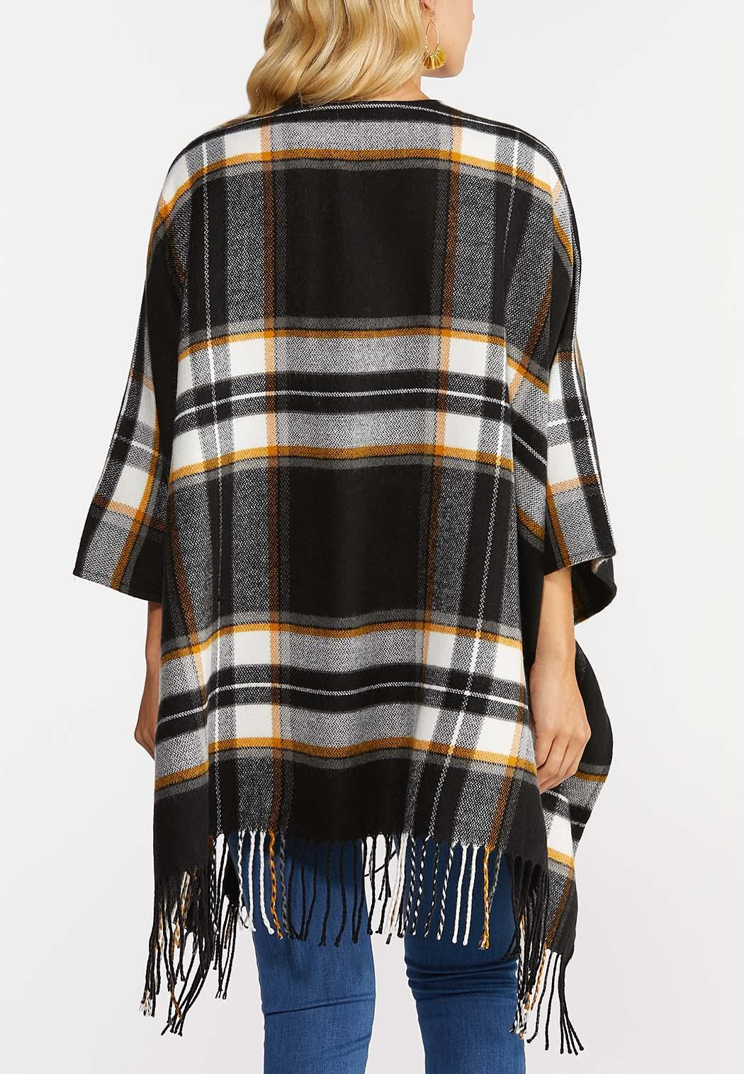 Plaid Buckle Front Poncho (Item #44350152)