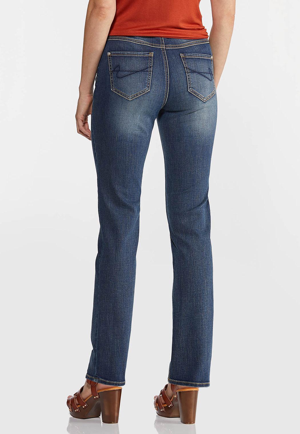Petite Straight High-Rise Jeans (Item #44350186)