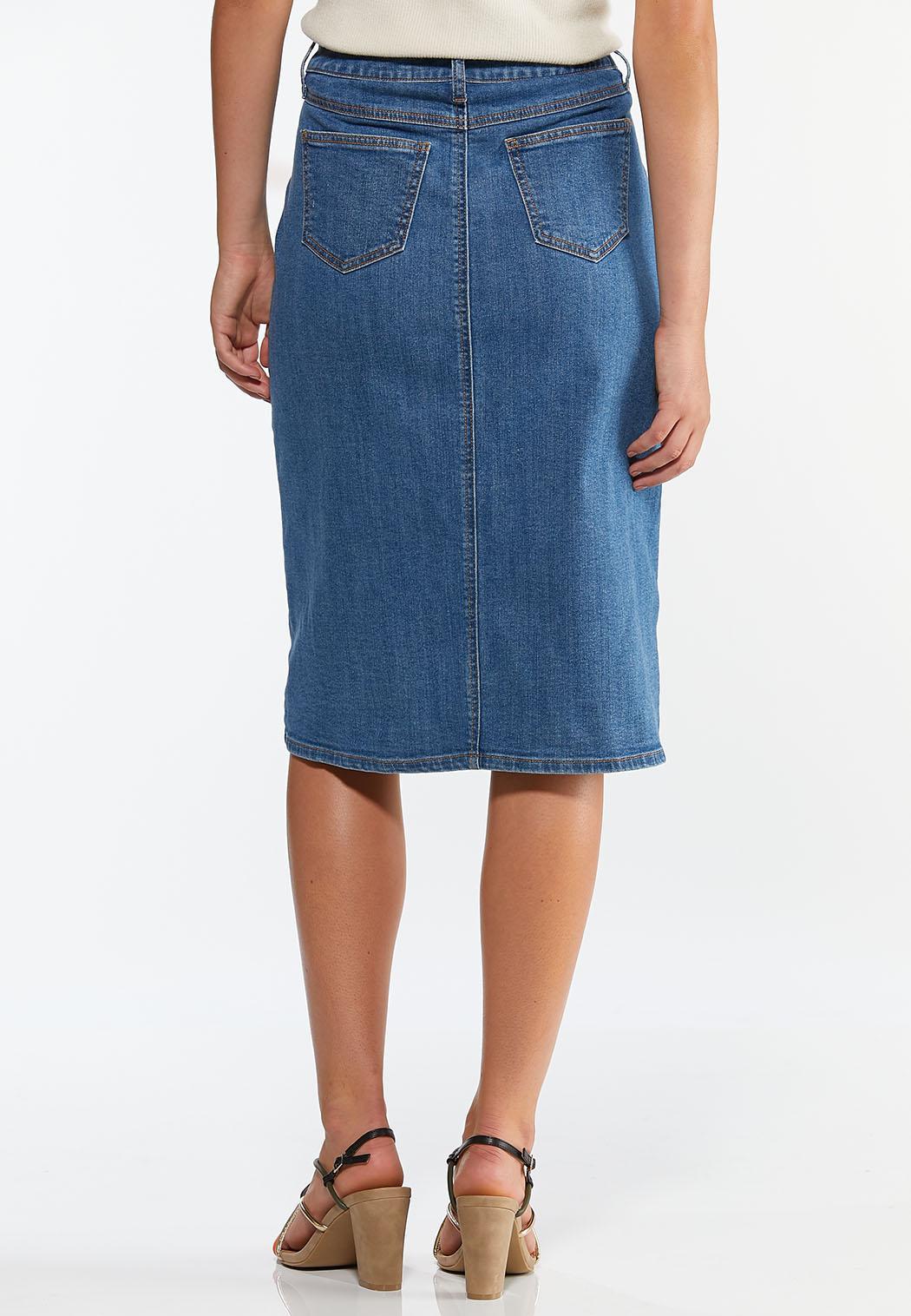 Button Front Denim Skirt (Item #44350841)