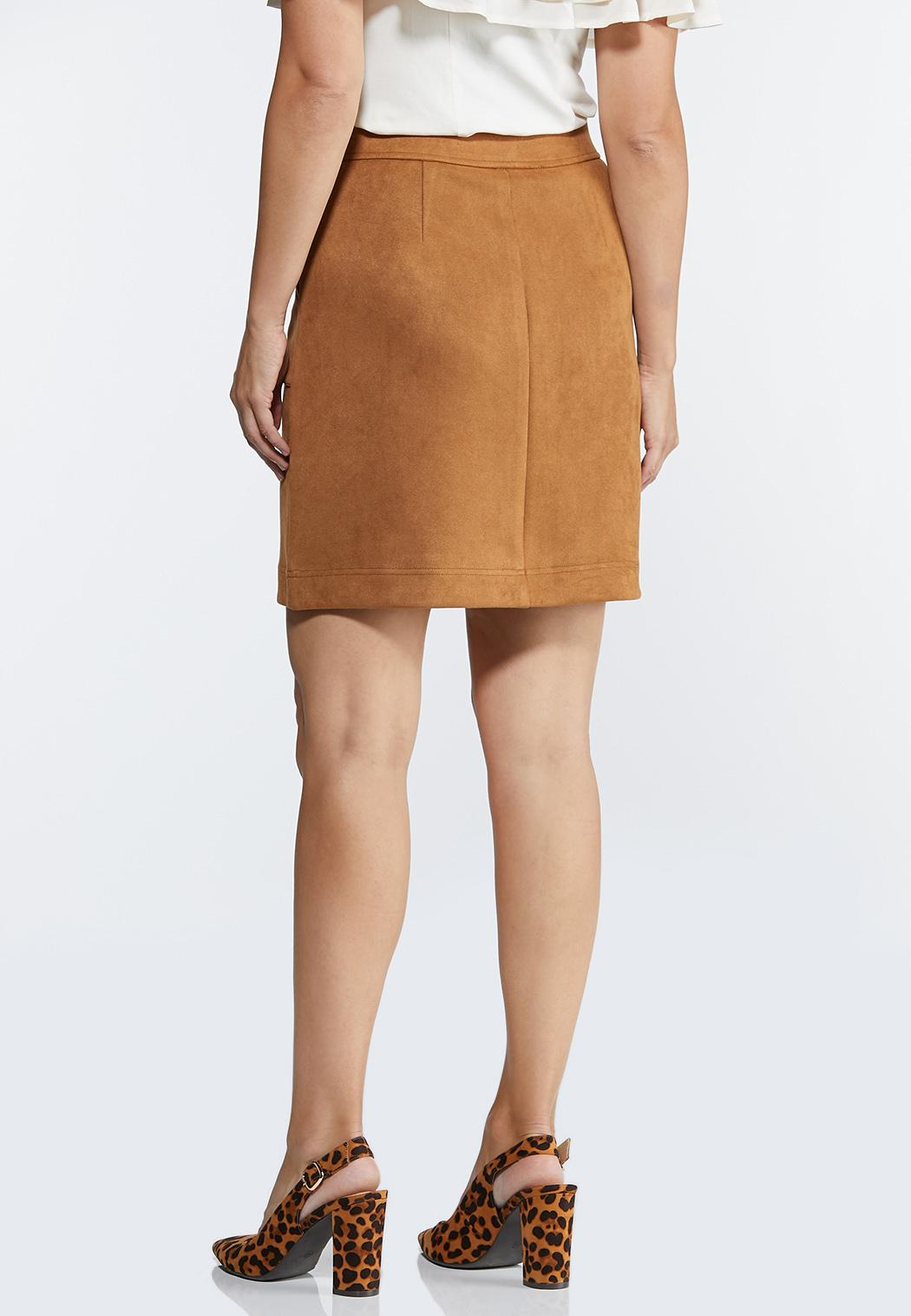 Plus Size Faux Suede Mini Skirt (Item #44351040)