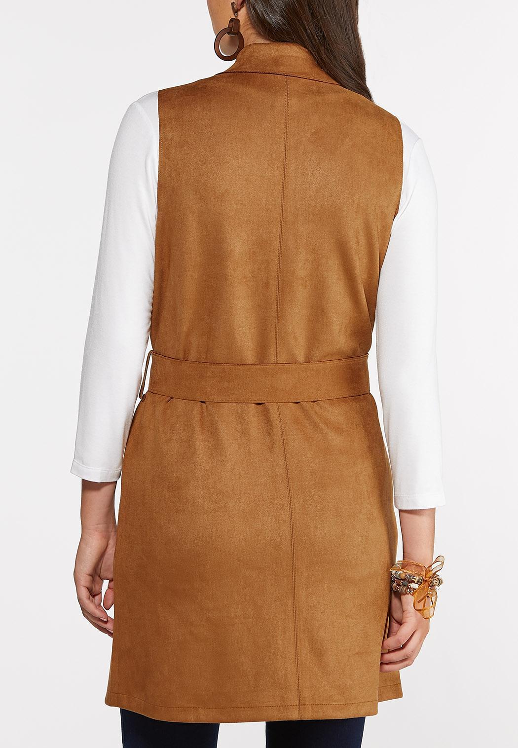 Belted Faux Suede Vest (Item #44351075)