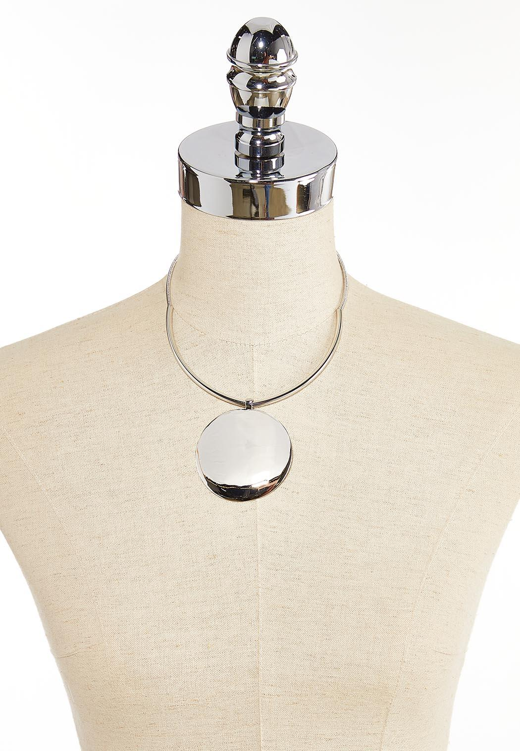Silver Disk Statement Necklace (Item #44351329)