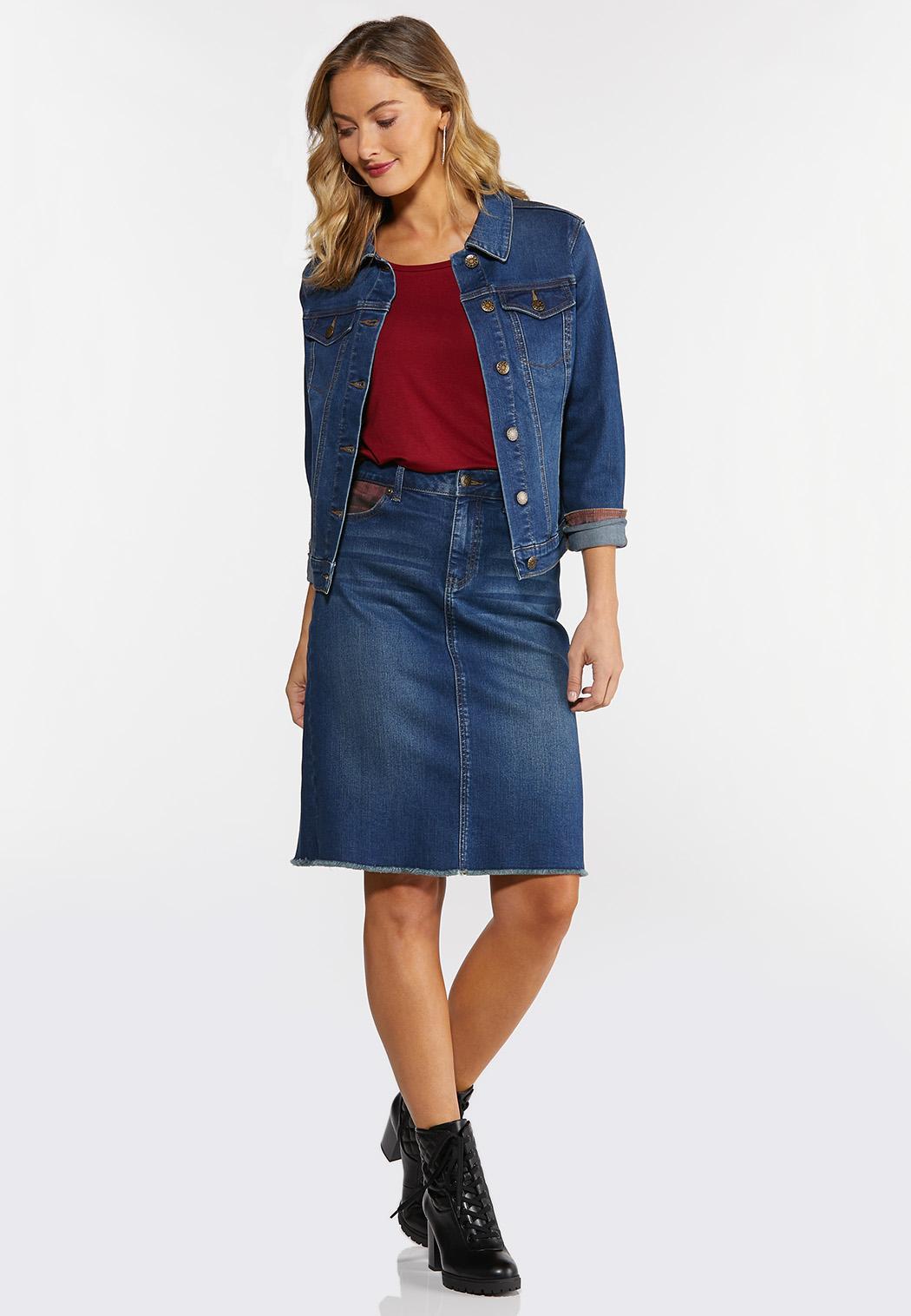 Plus Size Plaid Denim Jacket (Item #44352558)
