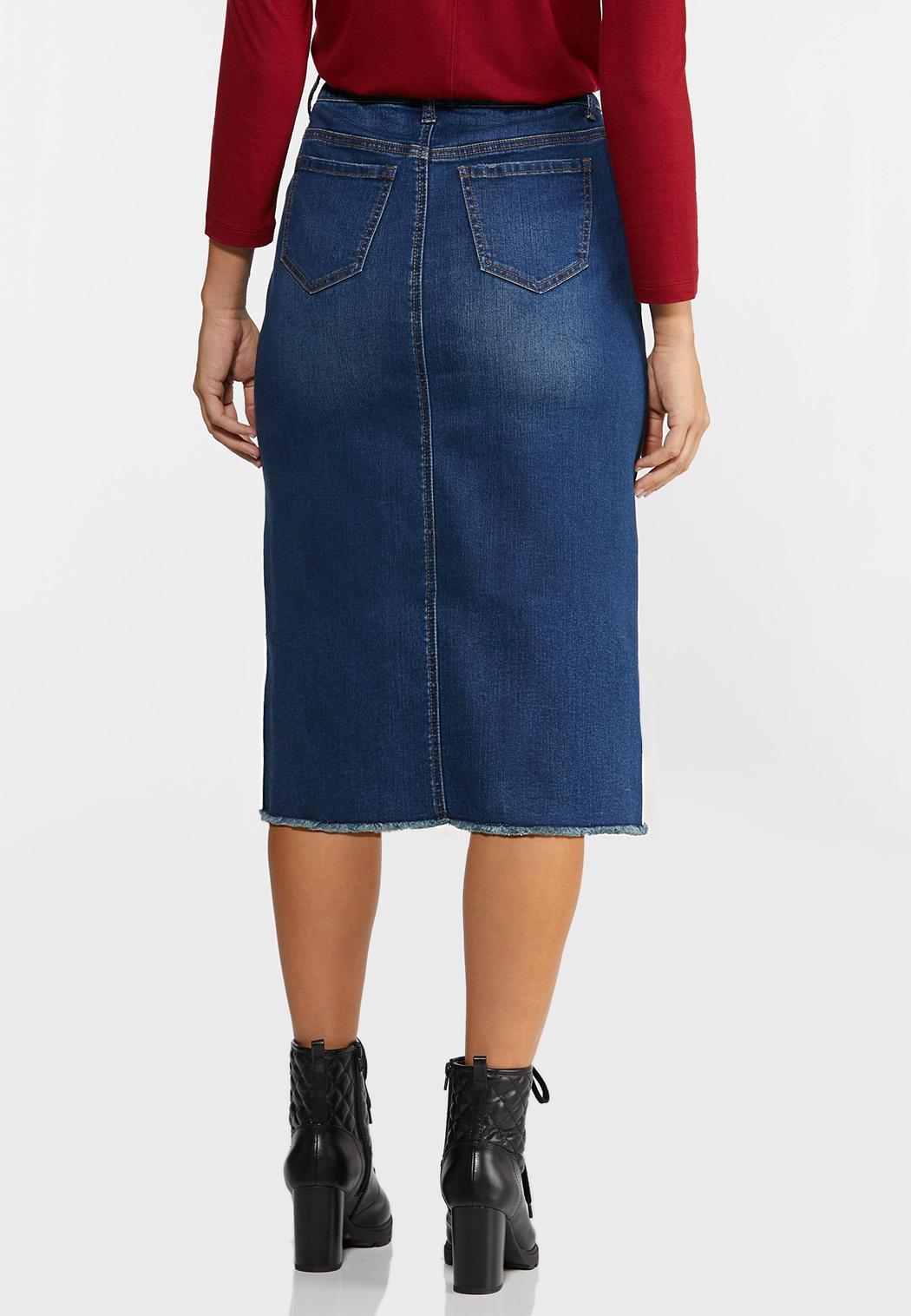 Plus Size Plaid Pocket Denim Skirt (Item #44352596)
