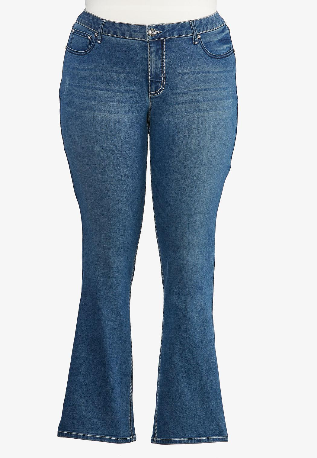 Plus Size Angel Wing Bootcut Jeans (Item #44352755)