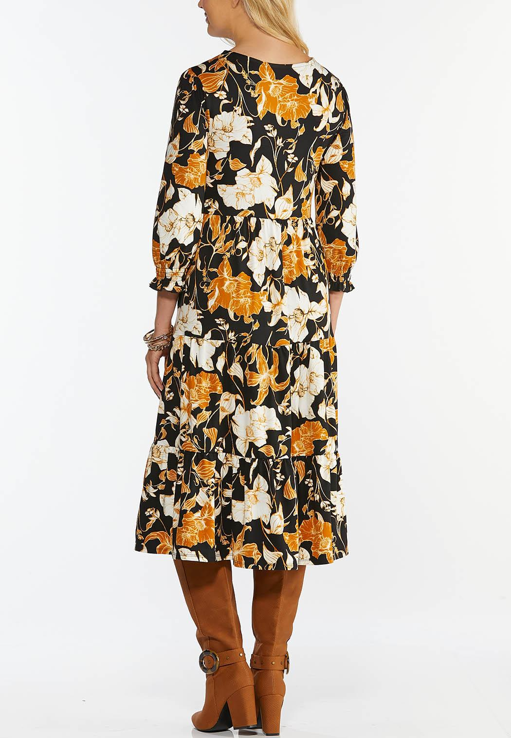 Plus Size Floral Tiered Midi Dress (Item #44352893)