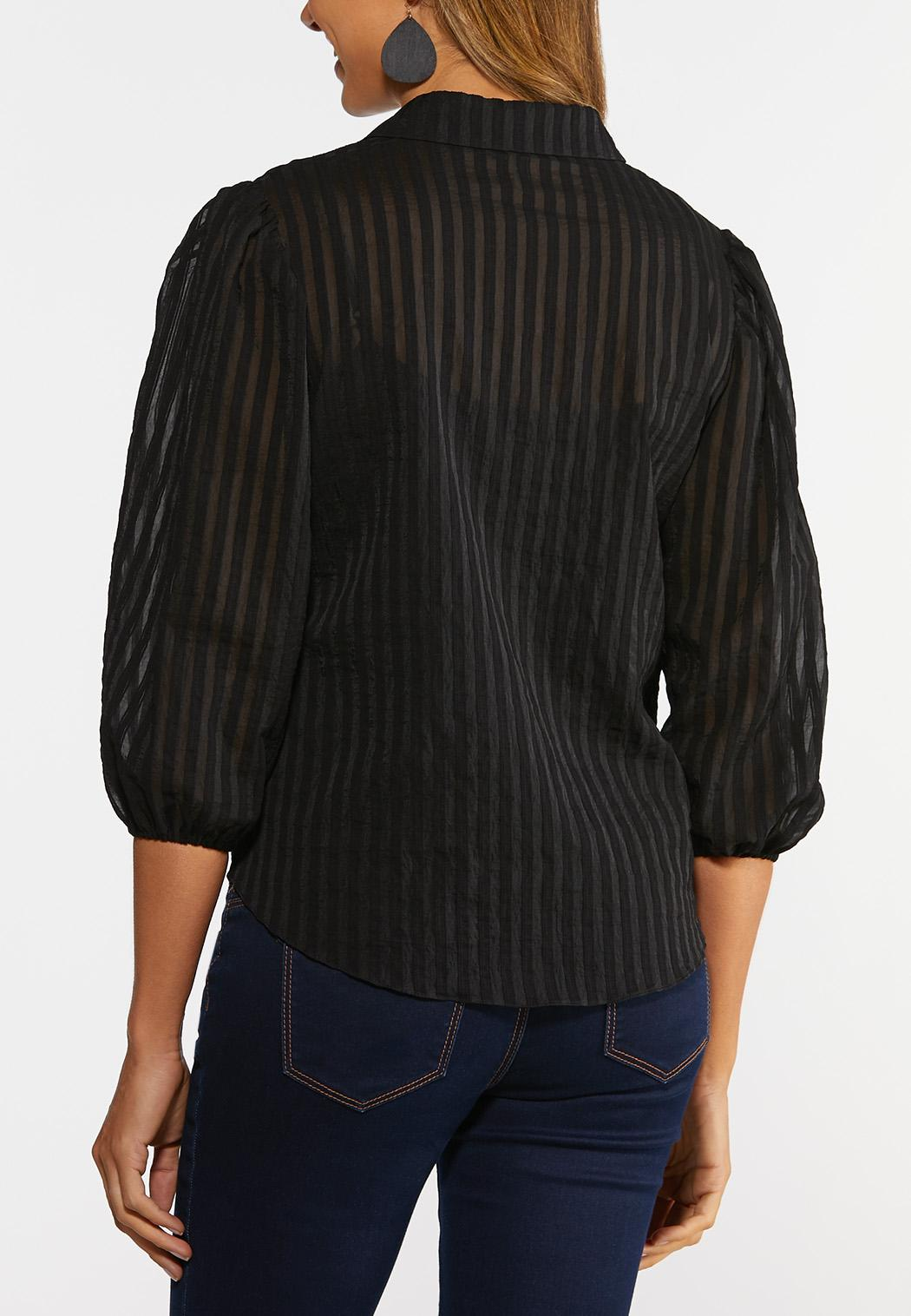 Black Shadow Stripe Top (Item #44353999)