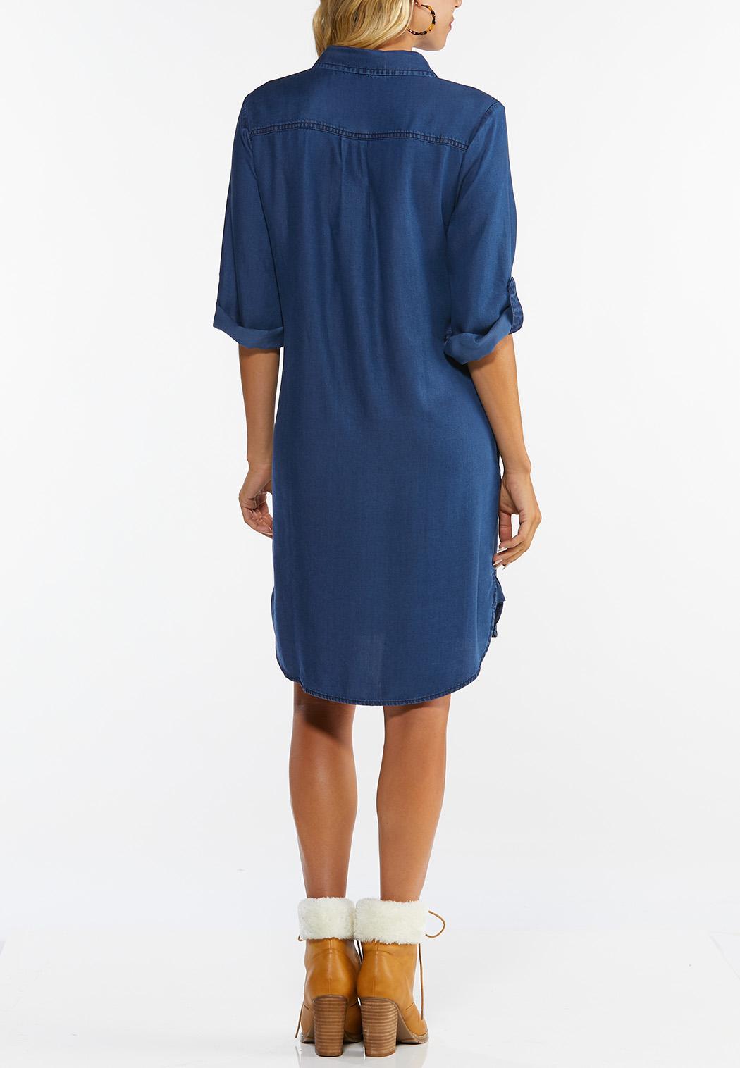 Plus Size Chambray Shirt Dress (Item #44354952)