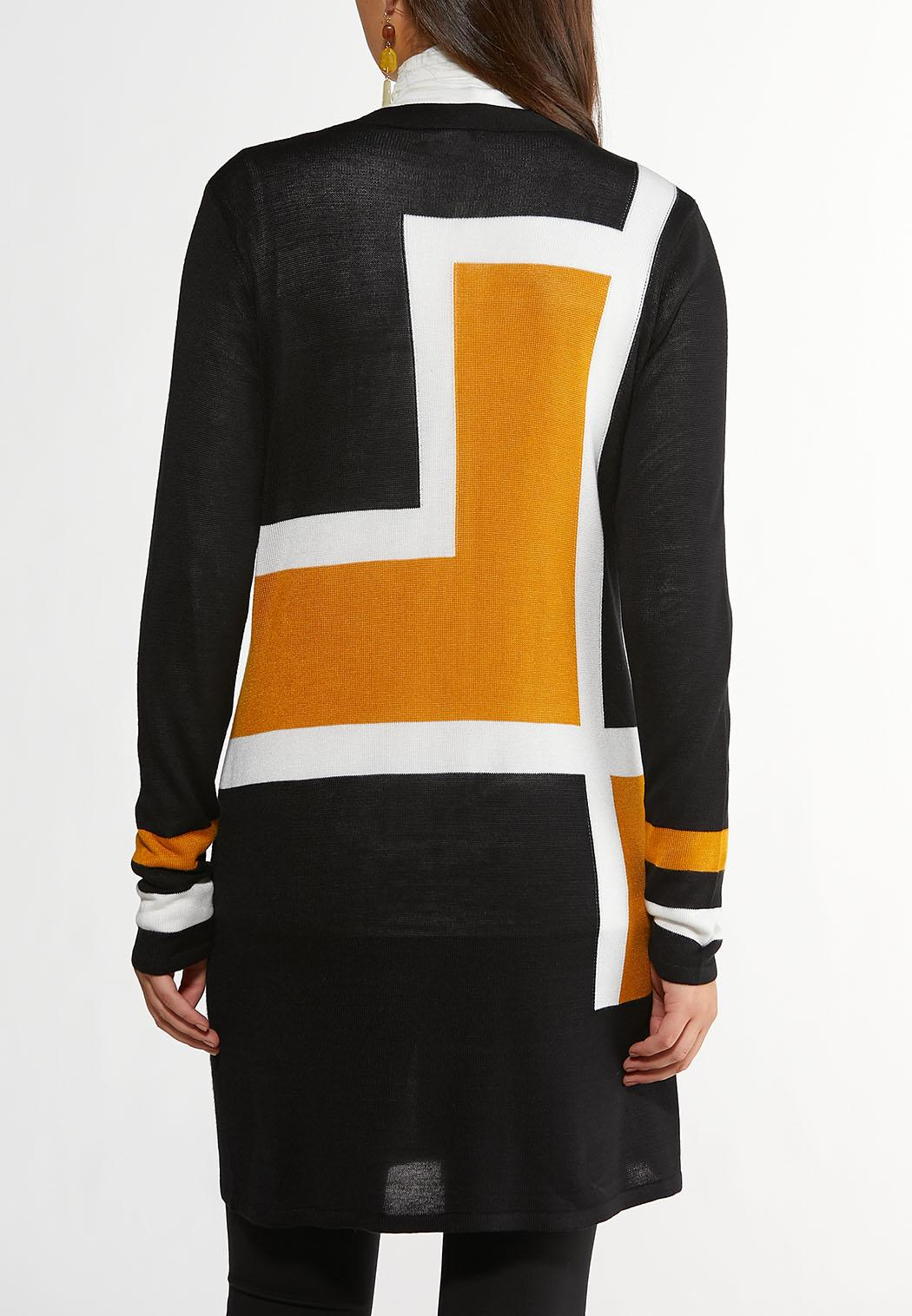 Gold Colorblock Cardigan Sweater (Item #44354956)