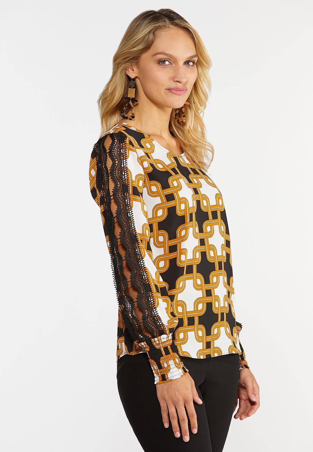 Plus Size Moroccan Lace Sleeve Top (Item #44355547)