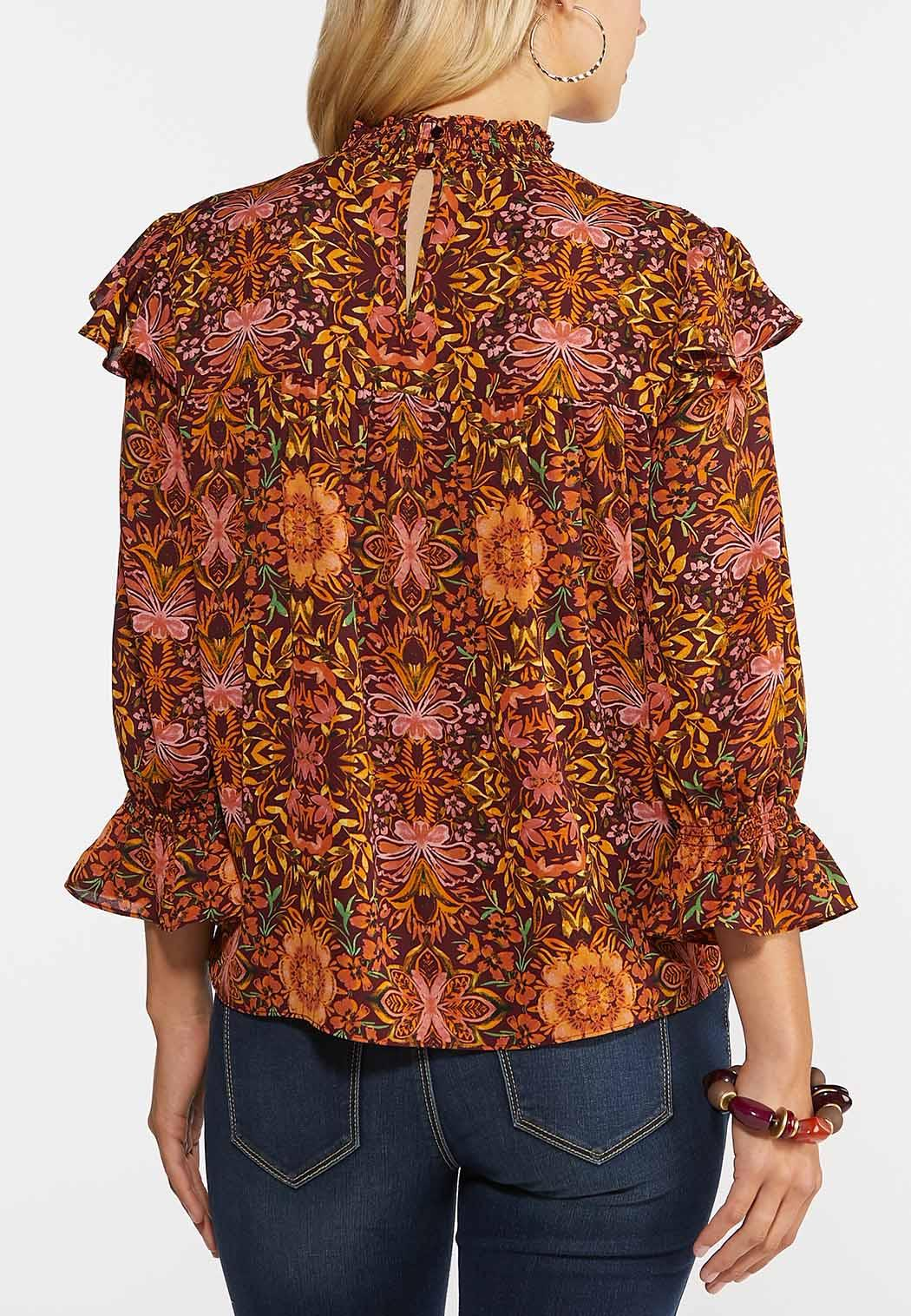 Plus Size Smocked Floral Top (Item #44355571)