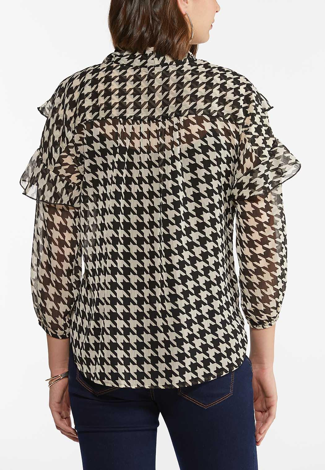 Plus Size Ruffled Houndstooth Top (Item #44355818)
