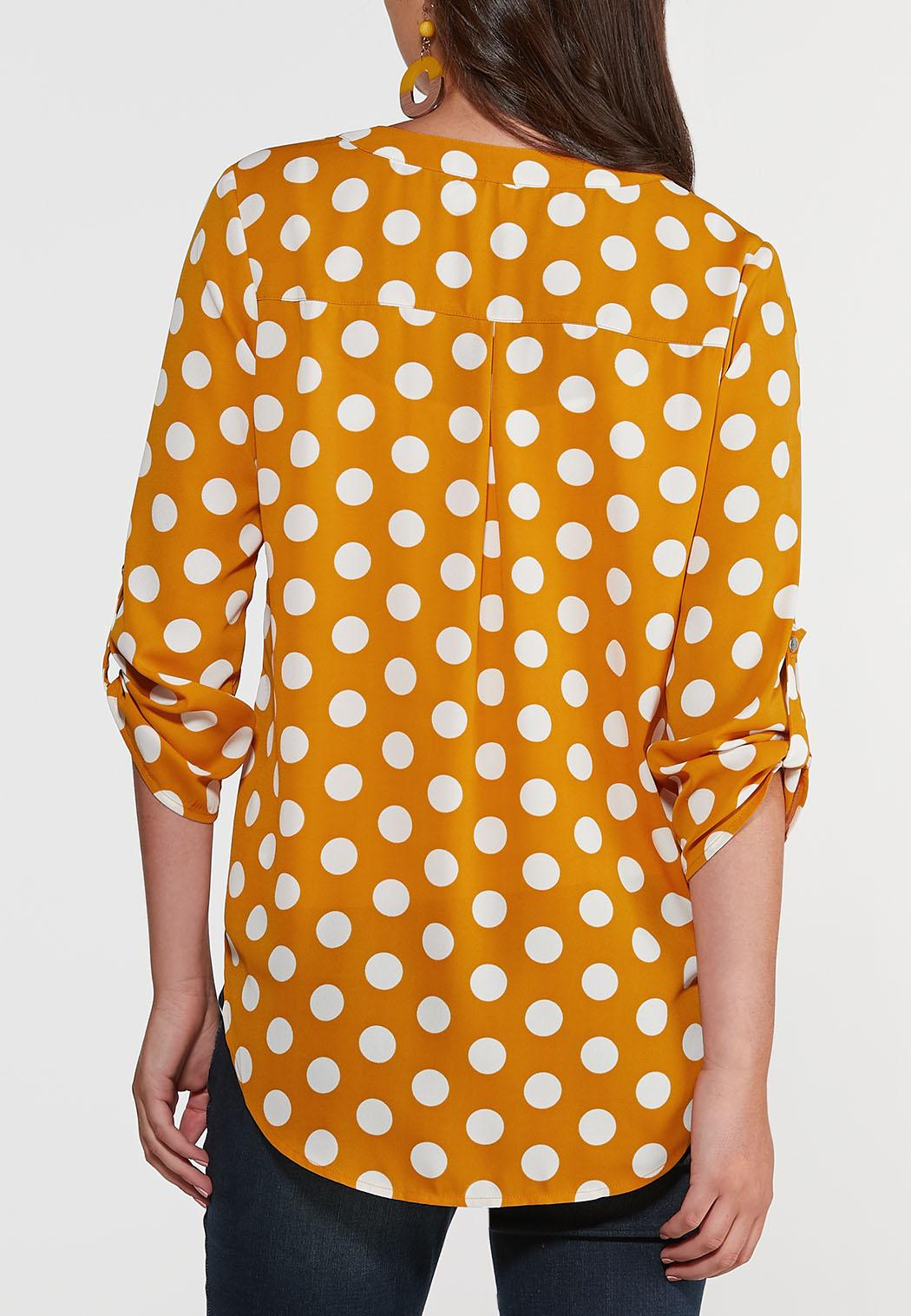 Plus Size Gold Polka Dot Top (Item #44355882)