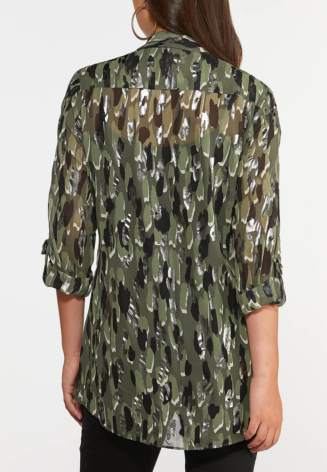 Plus Size Olive Foil Equipment Shirt (Item #44356005)