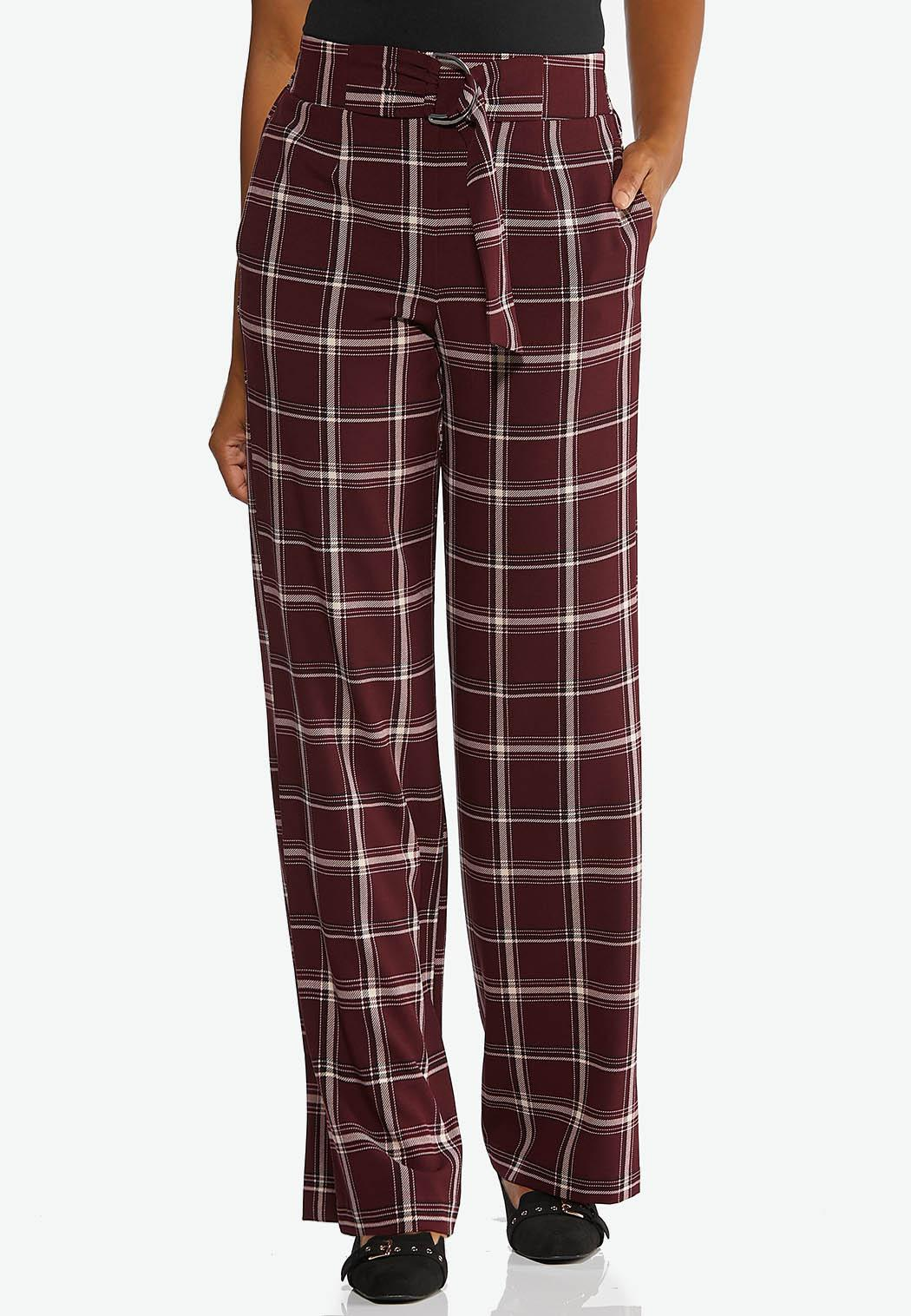 Wine Plaid Trouser Pants (Item #44356479)