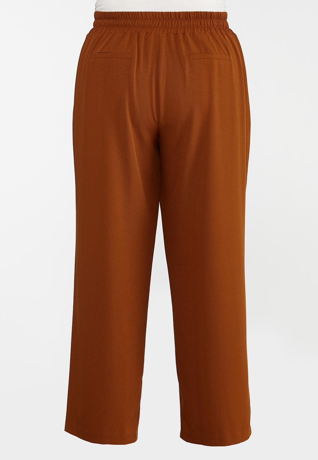 Plus Size Caramel Wide Leg Trouser Pants (Item #44356525)