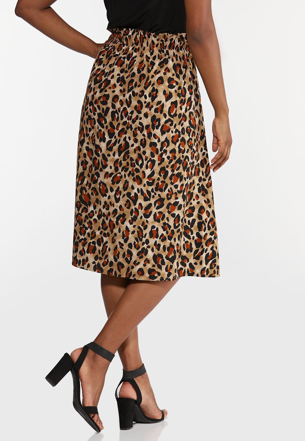 Plus Size Leopard Paperbag Waist Skirt (Item #44356641)