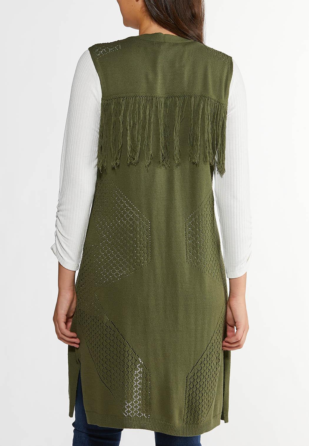 Plus Size Olive Fringe Back Sweater Vest (Item #44356661)