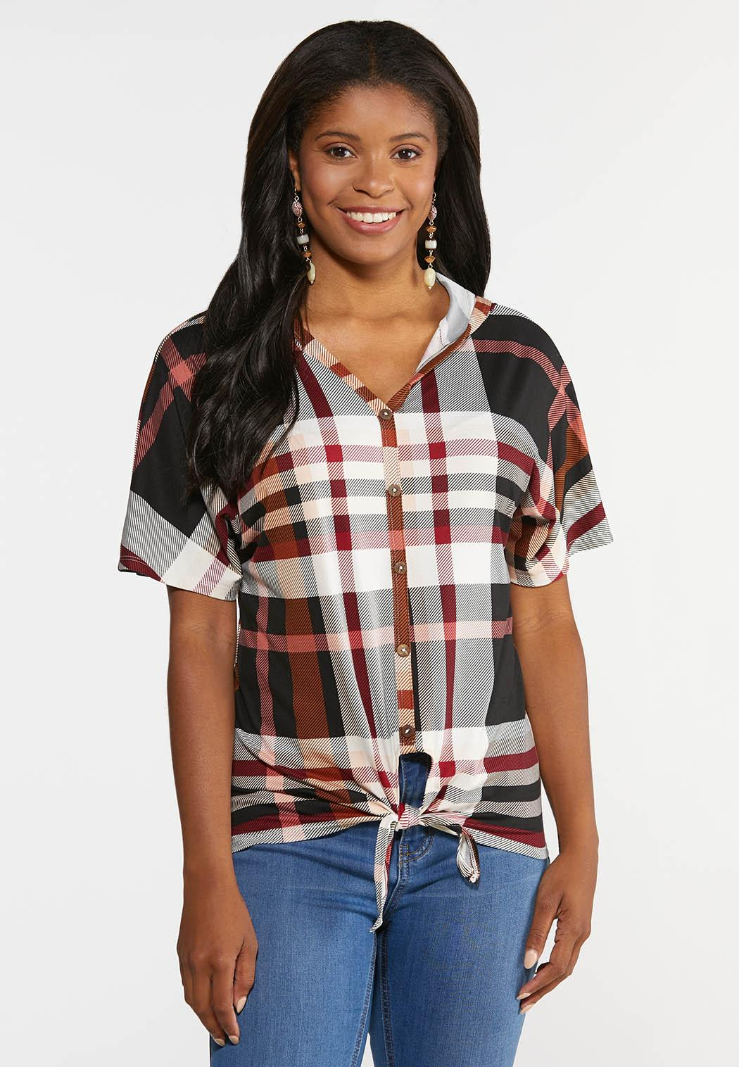 Plus Size Plaid Hooded Top (Item #44356796)