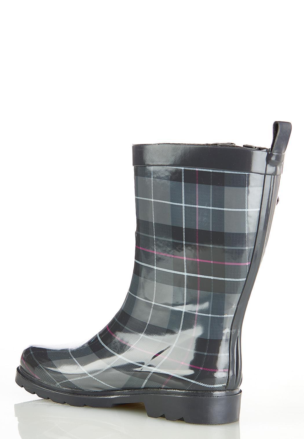 Plaid Mid Shaft Rain Boots (Item #44357168)