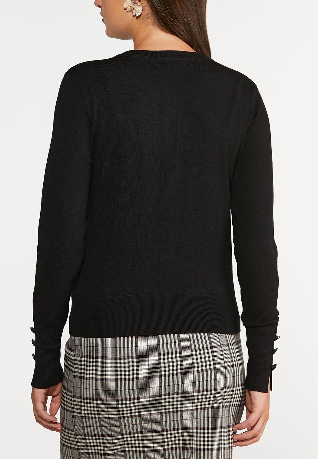 Plus Size Classic Black Cardigan Sweater (Item #44357309)