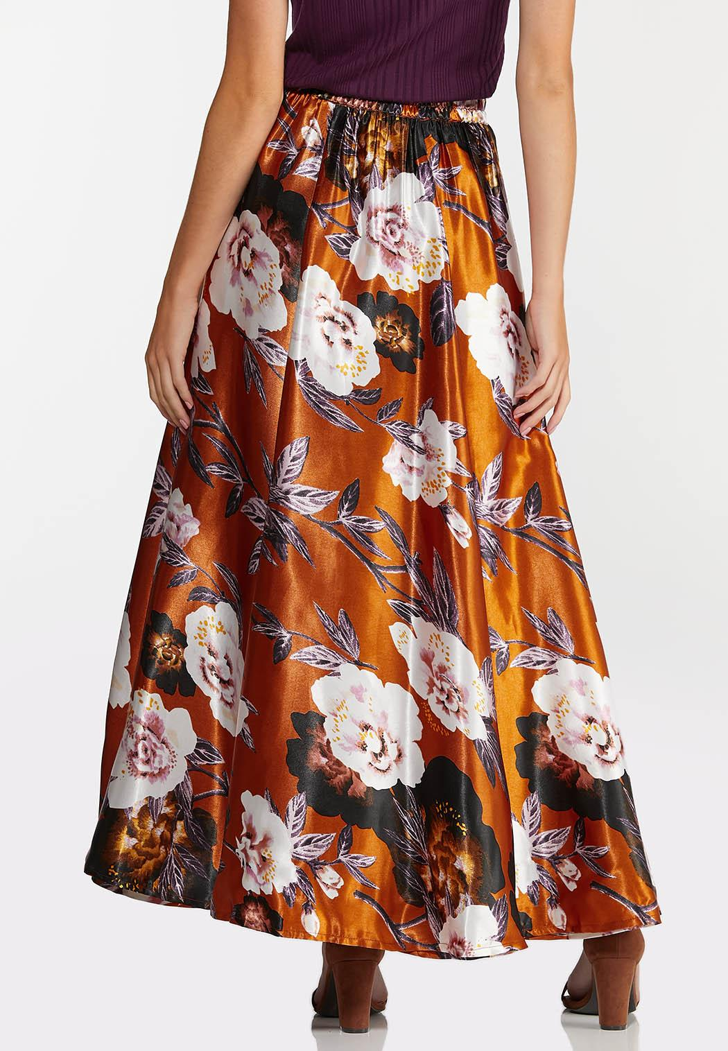Plus Size Floral Satin Maxi Skirt (Item #44357388)