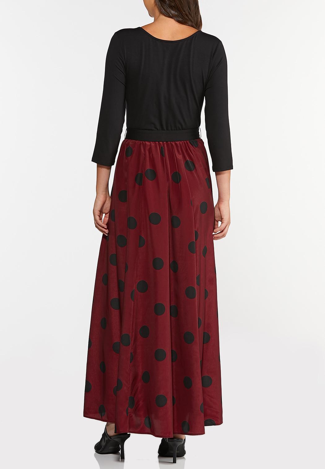 Plus Size Polka Dot Colorblock Dress (Item #44357495)