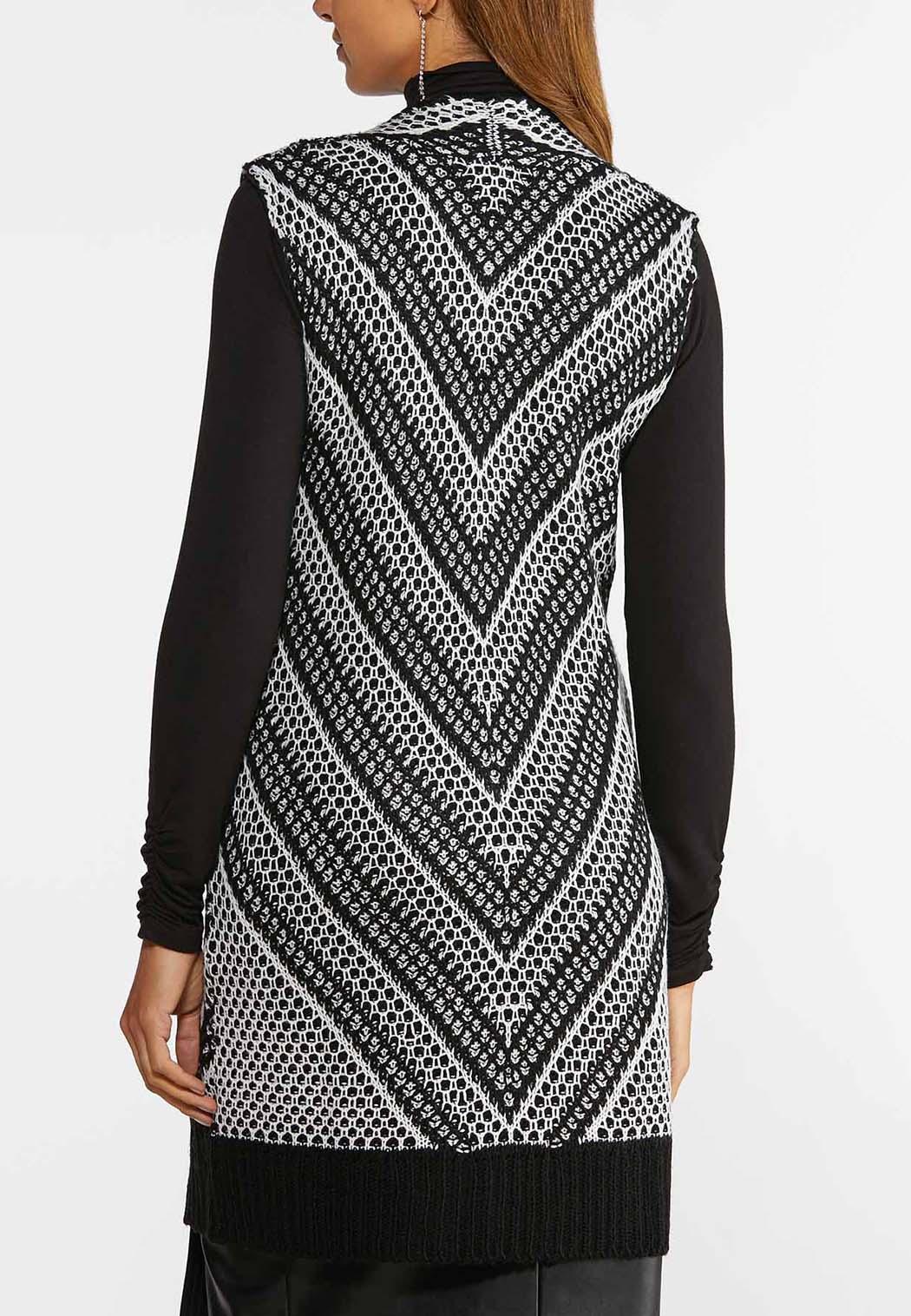Plus Size Mitered Stripe Sweater Vest (Item #44357529)