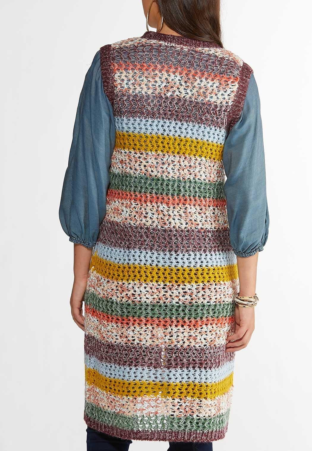 Plus Size Multicolor Open Stitch Sweater Vest (Item #44357570)