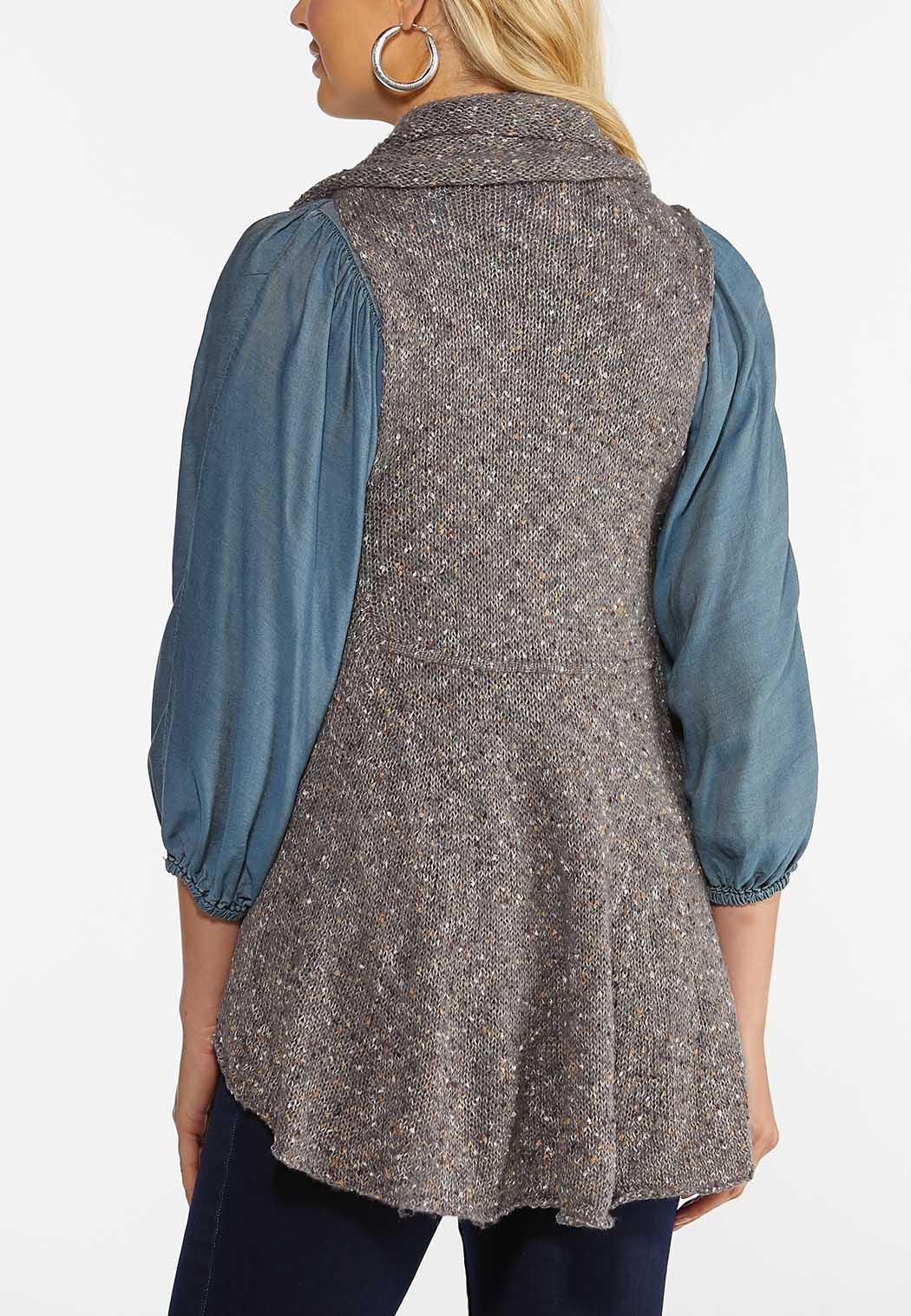 Plus Size Drape Front Circle Vest (Item #44357906)